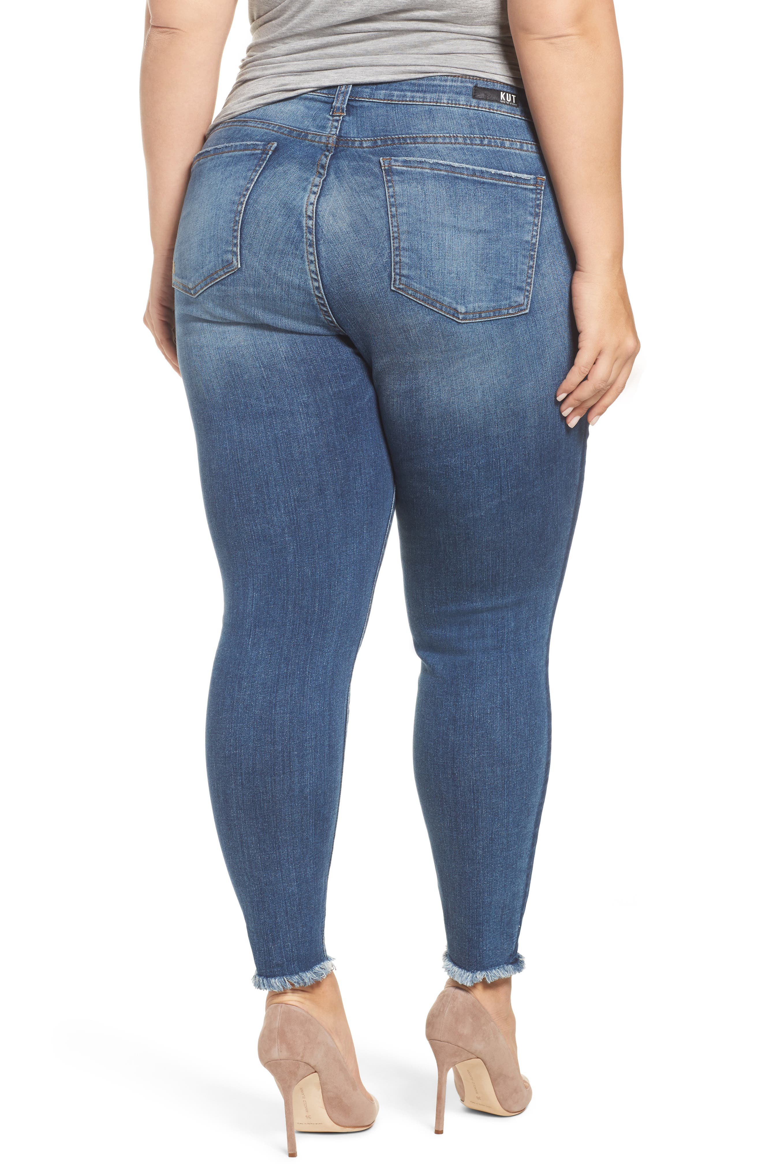 Alternate Image 3  - KUT from the Kloth Connie Frayed Skinny Ankle Jeans (Prolific) (Plus Size)