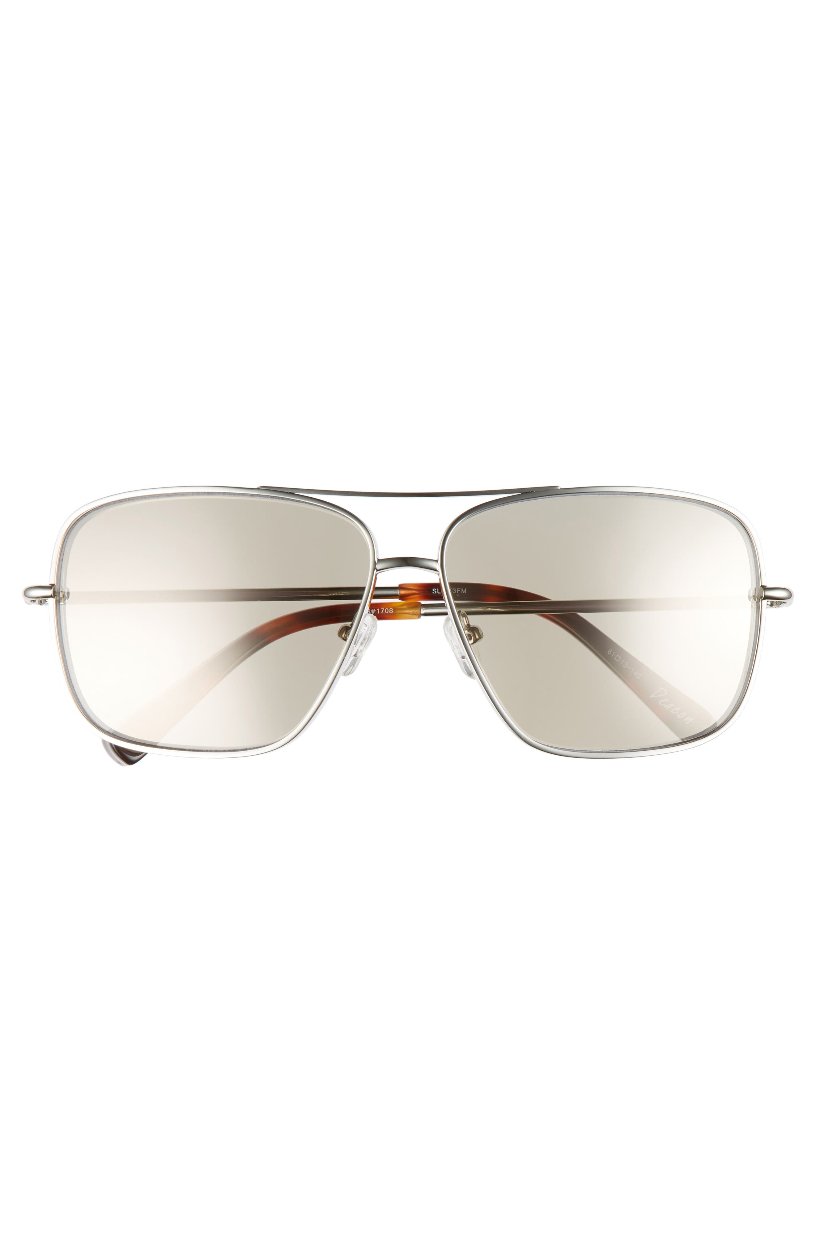 Deacon 61mm Aviator Sunglasses,                             Alternate thumbnail 3, color,                             Silver
