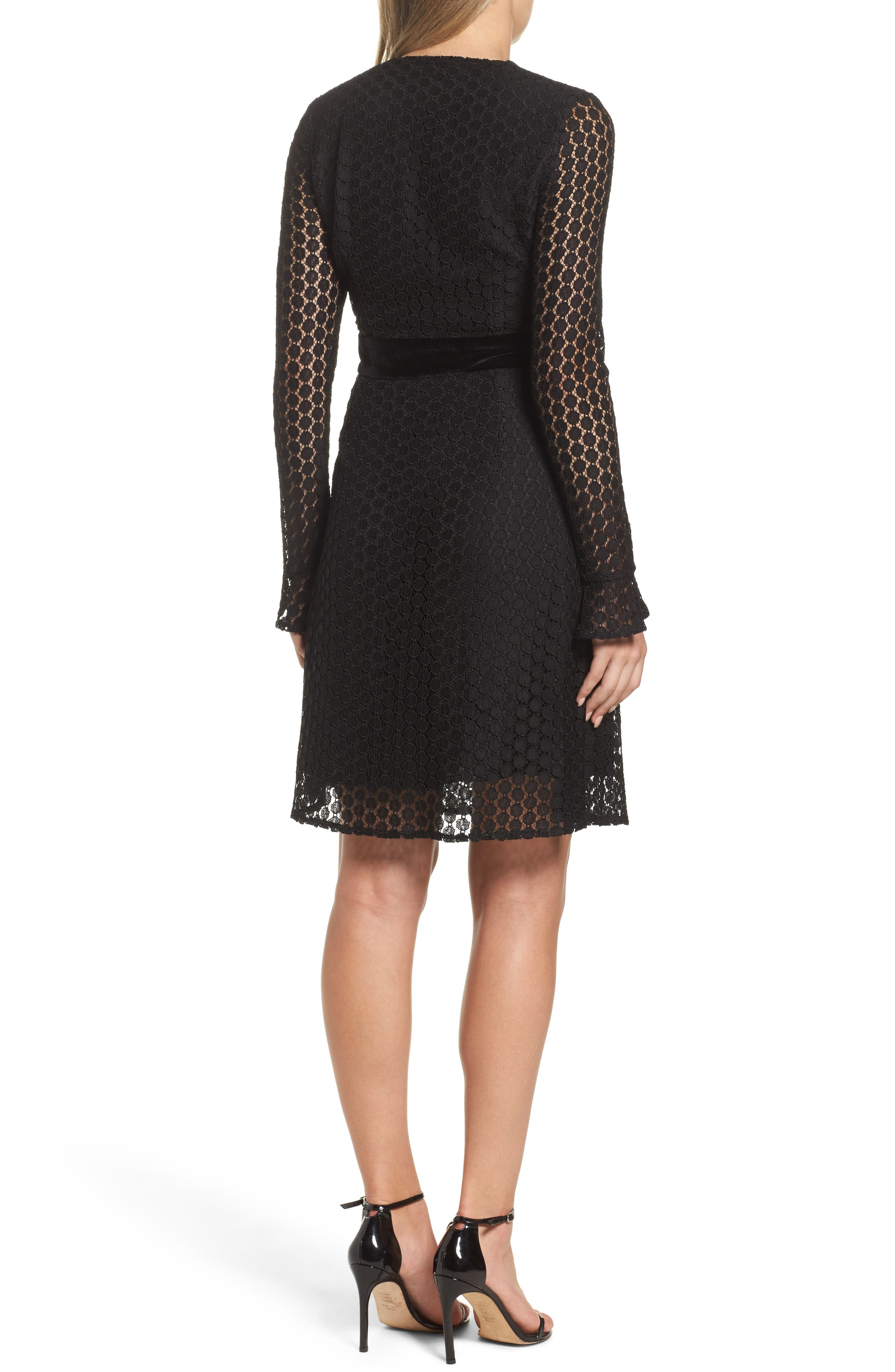 Alternate Image 2  - Foxiedox Pearl Lace & Velvet Fit & Flare Dress