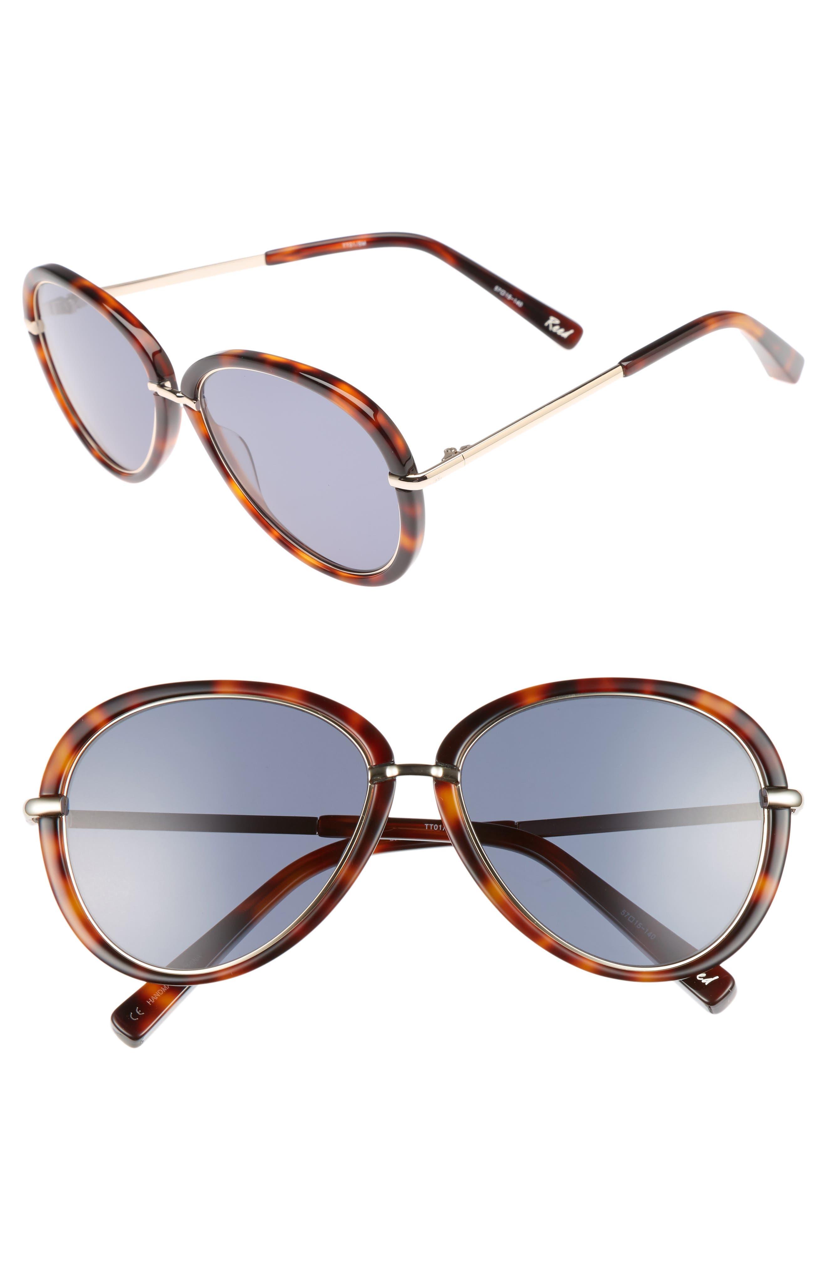 Reed 57mm Aviator Sunglasses,                         Main,                         color, Tortoise