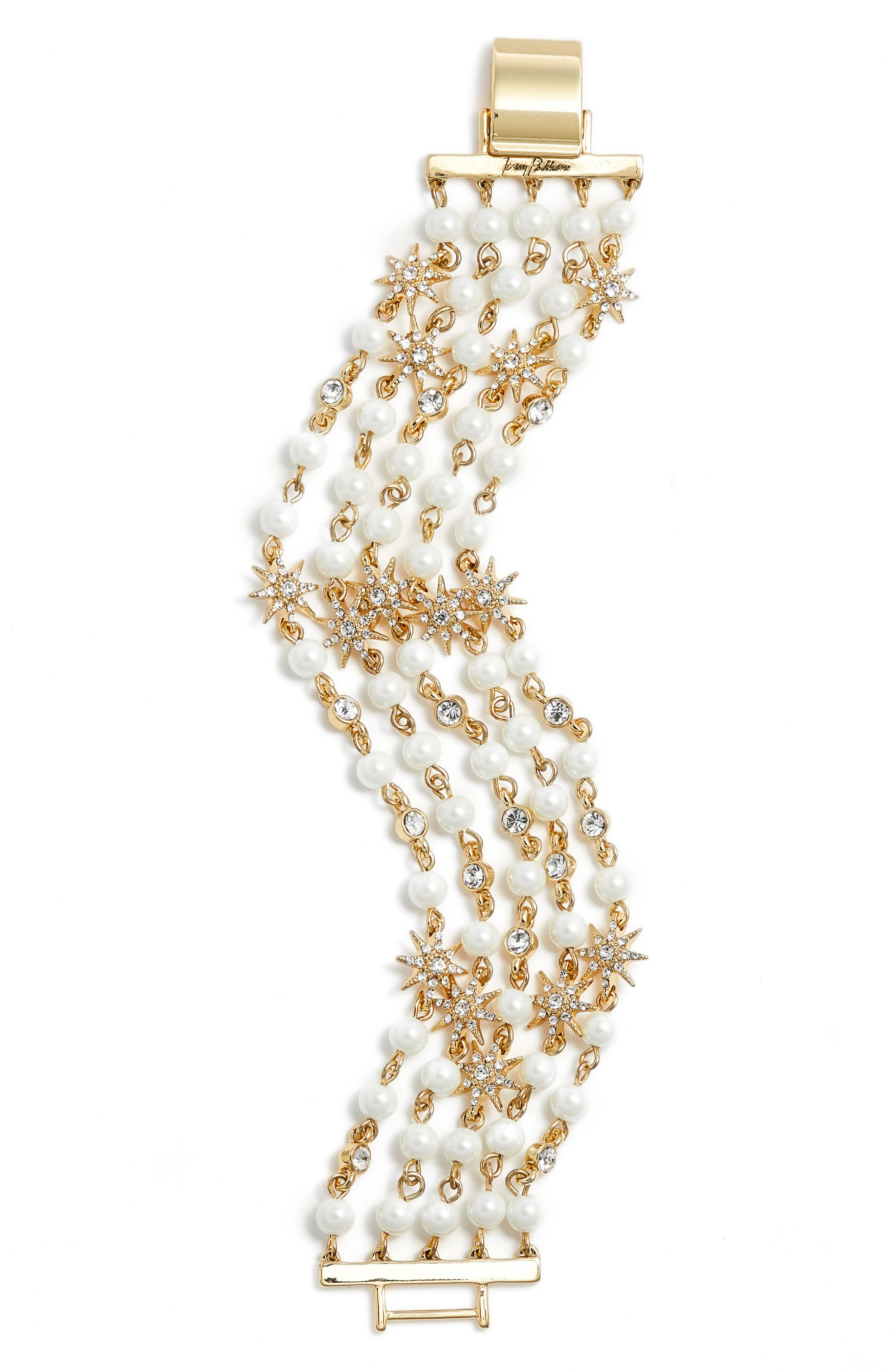 Star Beaded Multistrand Bracelet,                         Main,                         color, Pearl/ Gold/ Pearl