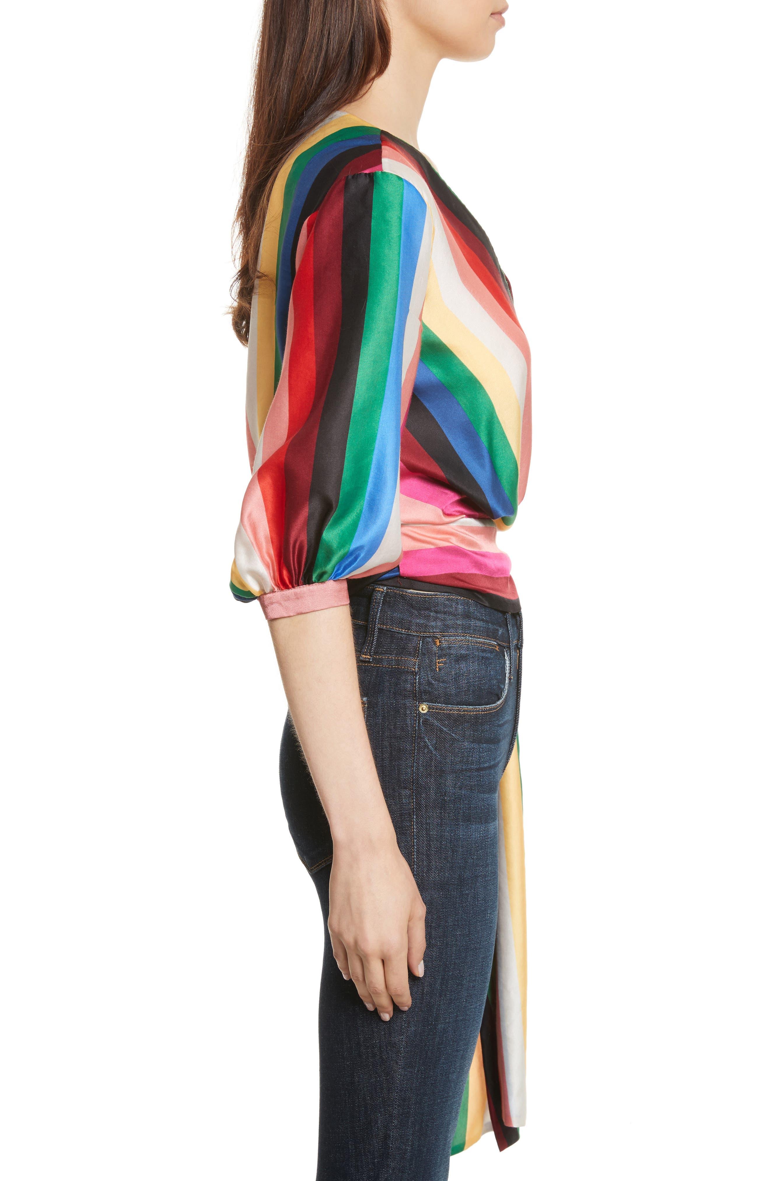 Dyanna Wrap Front Blouson Top,                             Alternate thumbnail 3, color,                             Rainbow Stripe