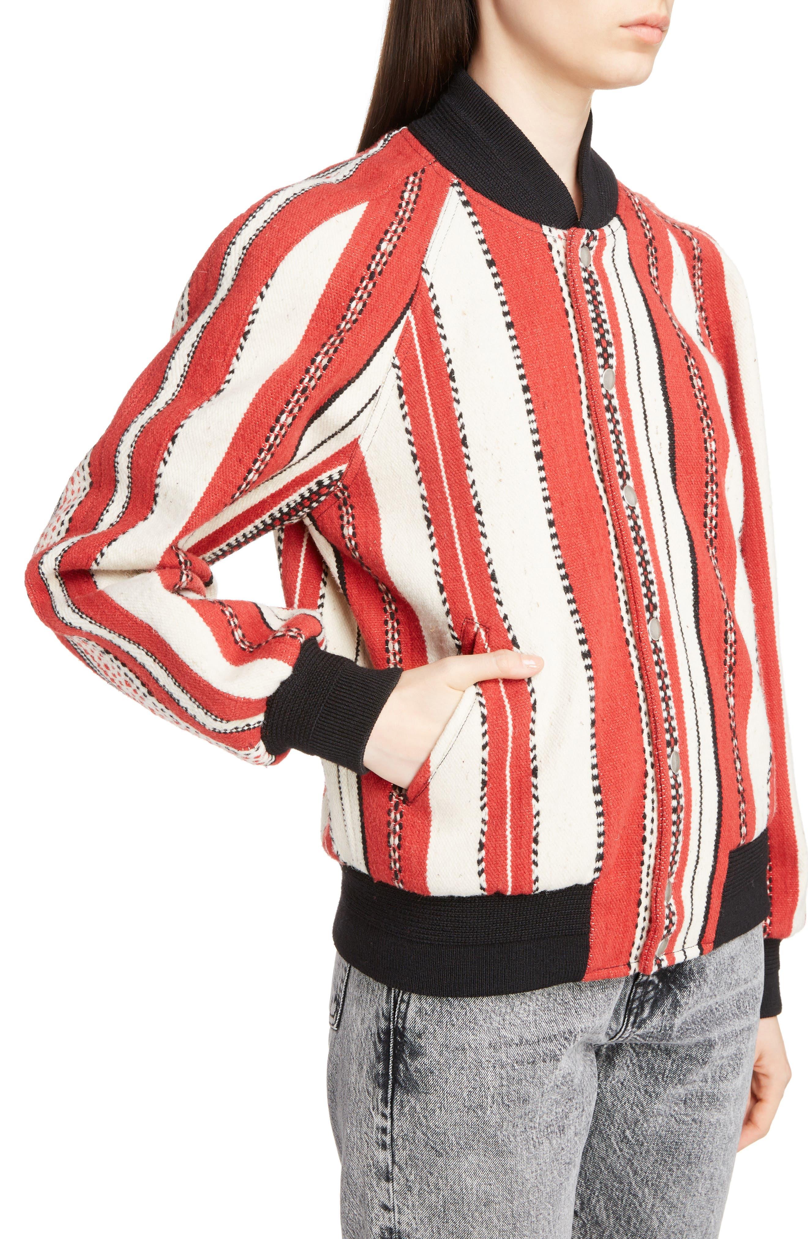 Tapestry Wool Blend Teddy Jacket,                             Alternate thumbnail 4, color,                             Rouge Craie Noir