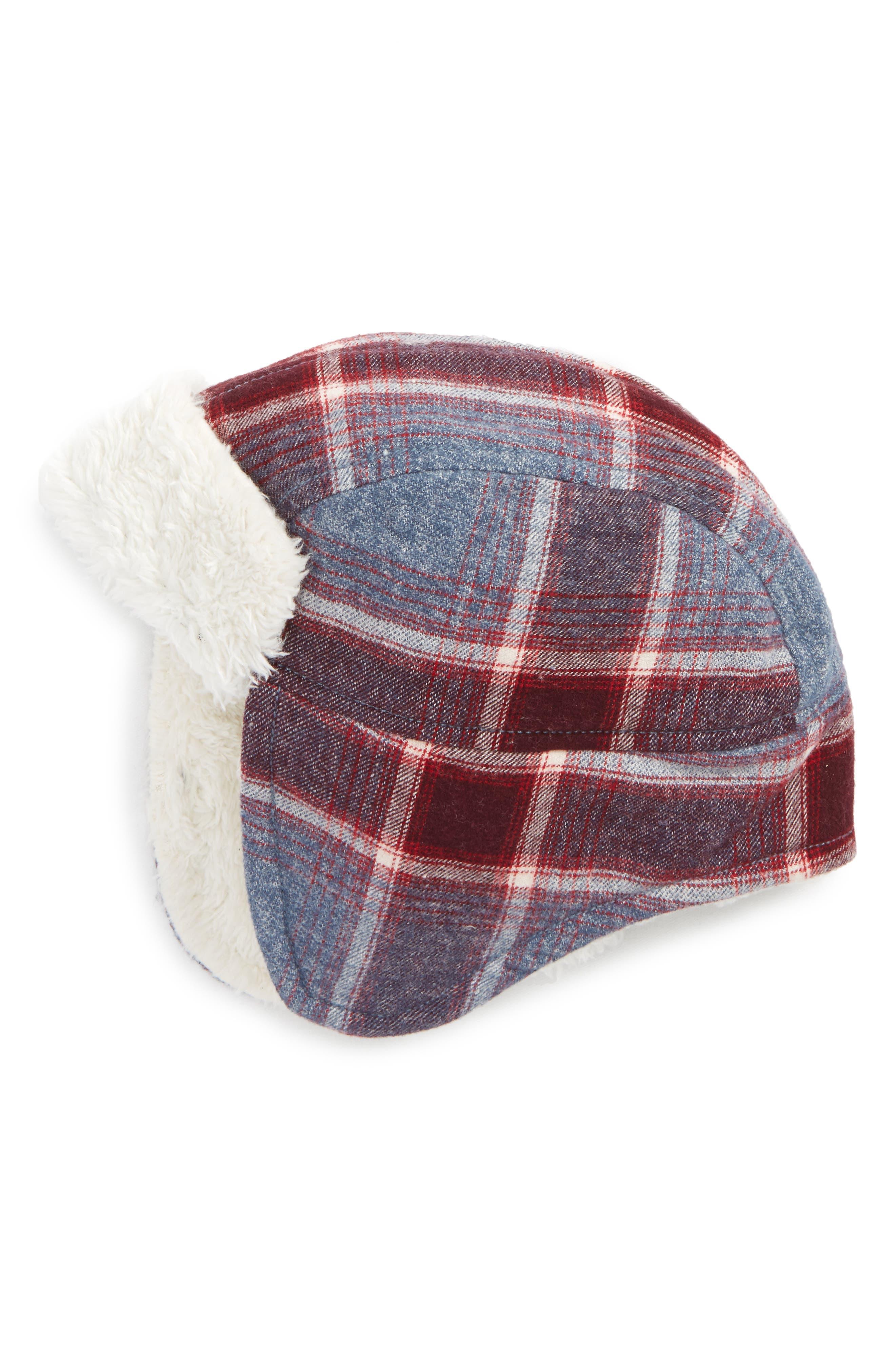 Flight Hat,                         Main,                         color, Navy Denim Multi Plaid