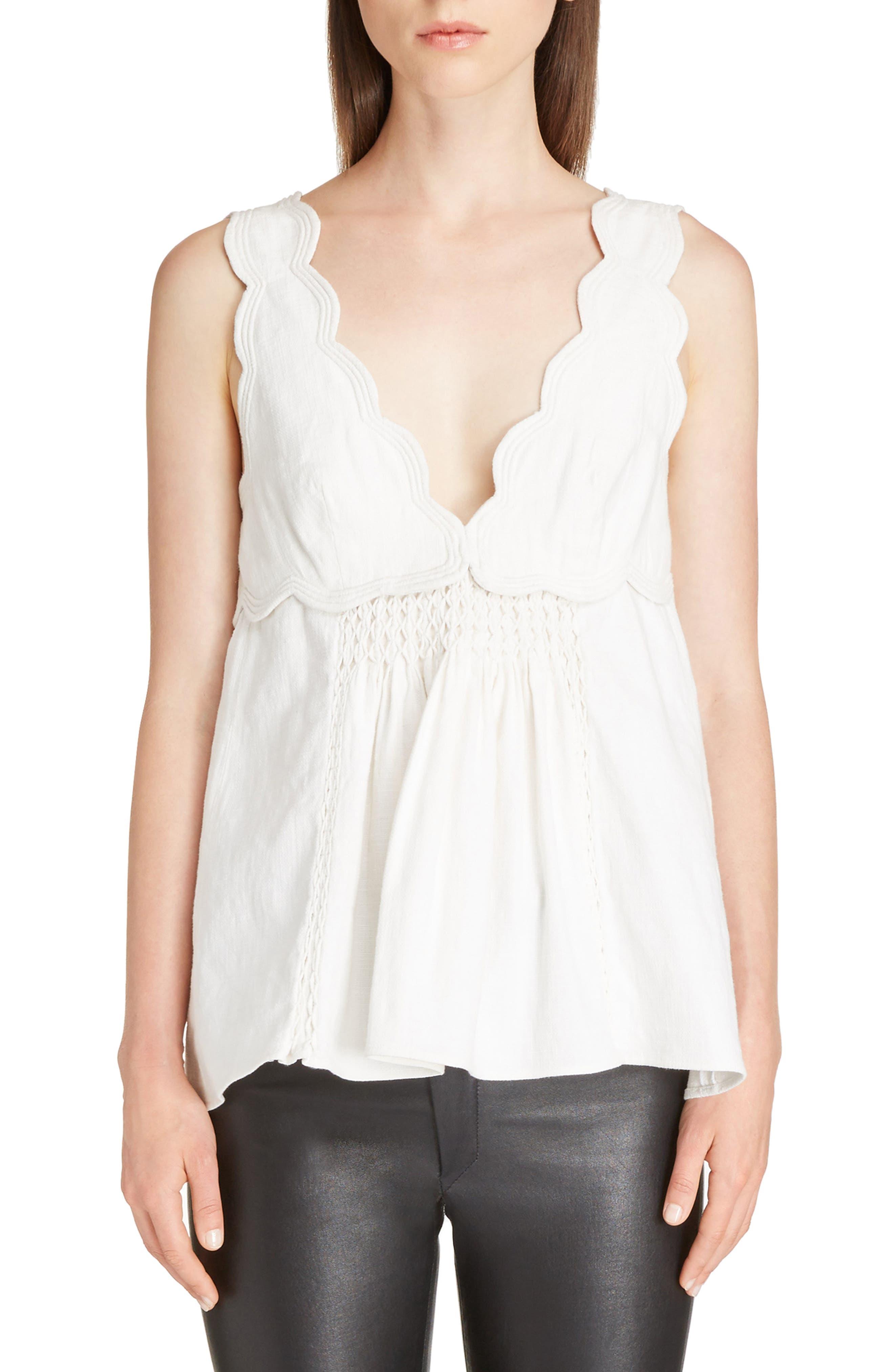 Isabel Marant Wigstone Scallop Neck Cotton Top