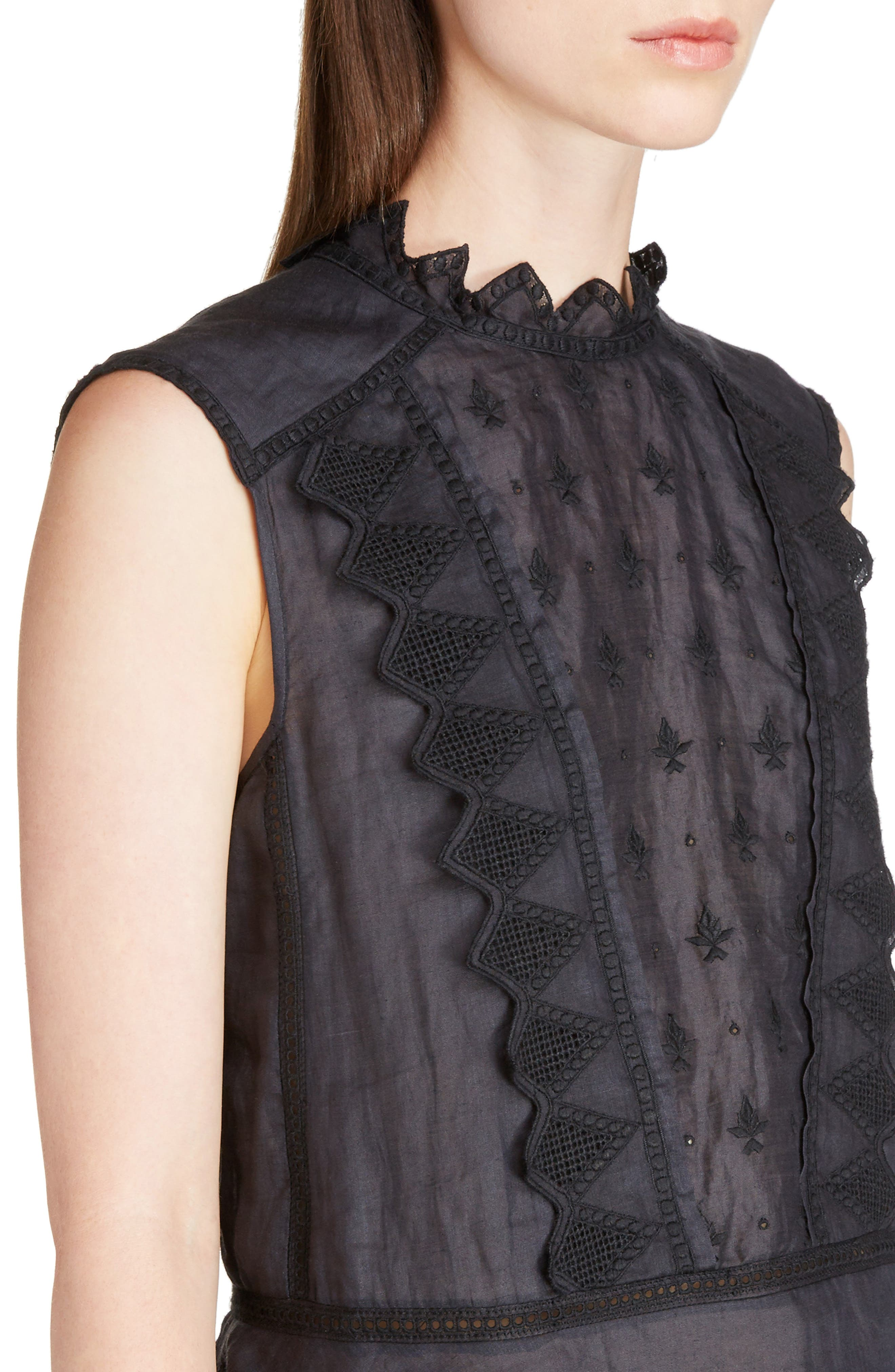 Nust Embroidered Top,                             Alternate thumbnail 4, color,                             Black