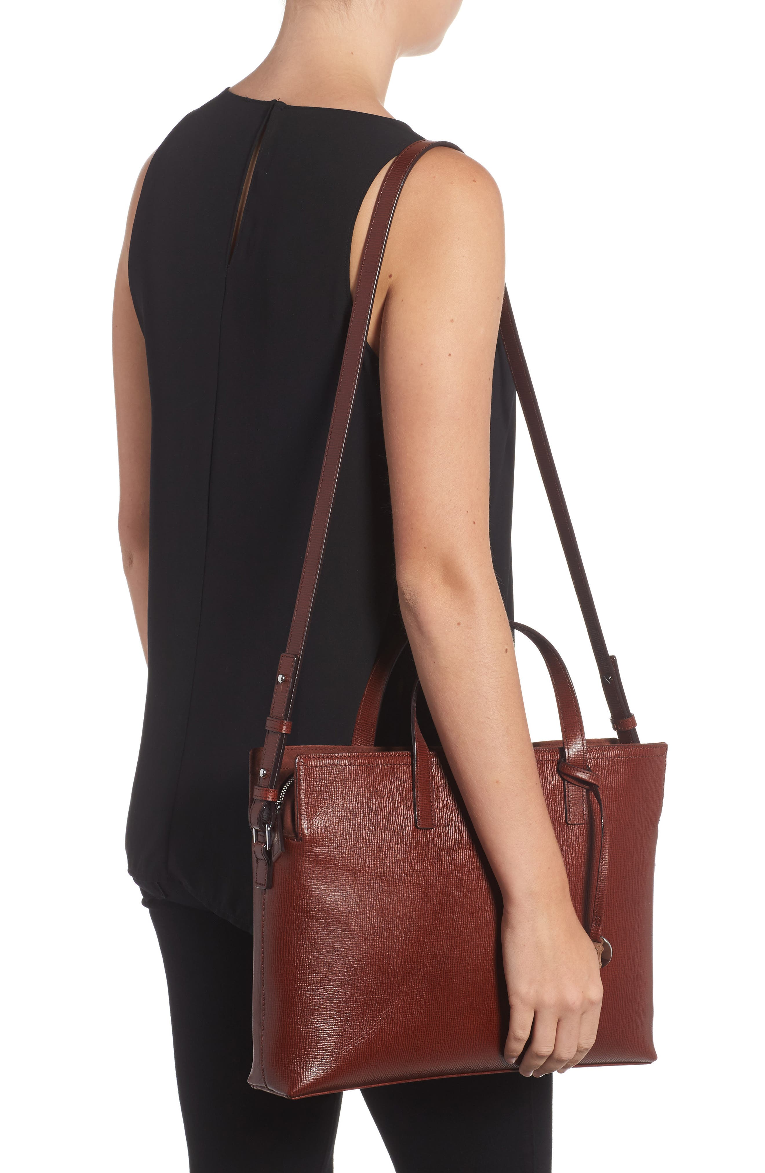 Business Chic Judith RFID-Protected Leather Laptop Briefcase,                             Alternate thumbnail 2, color,                             Russet