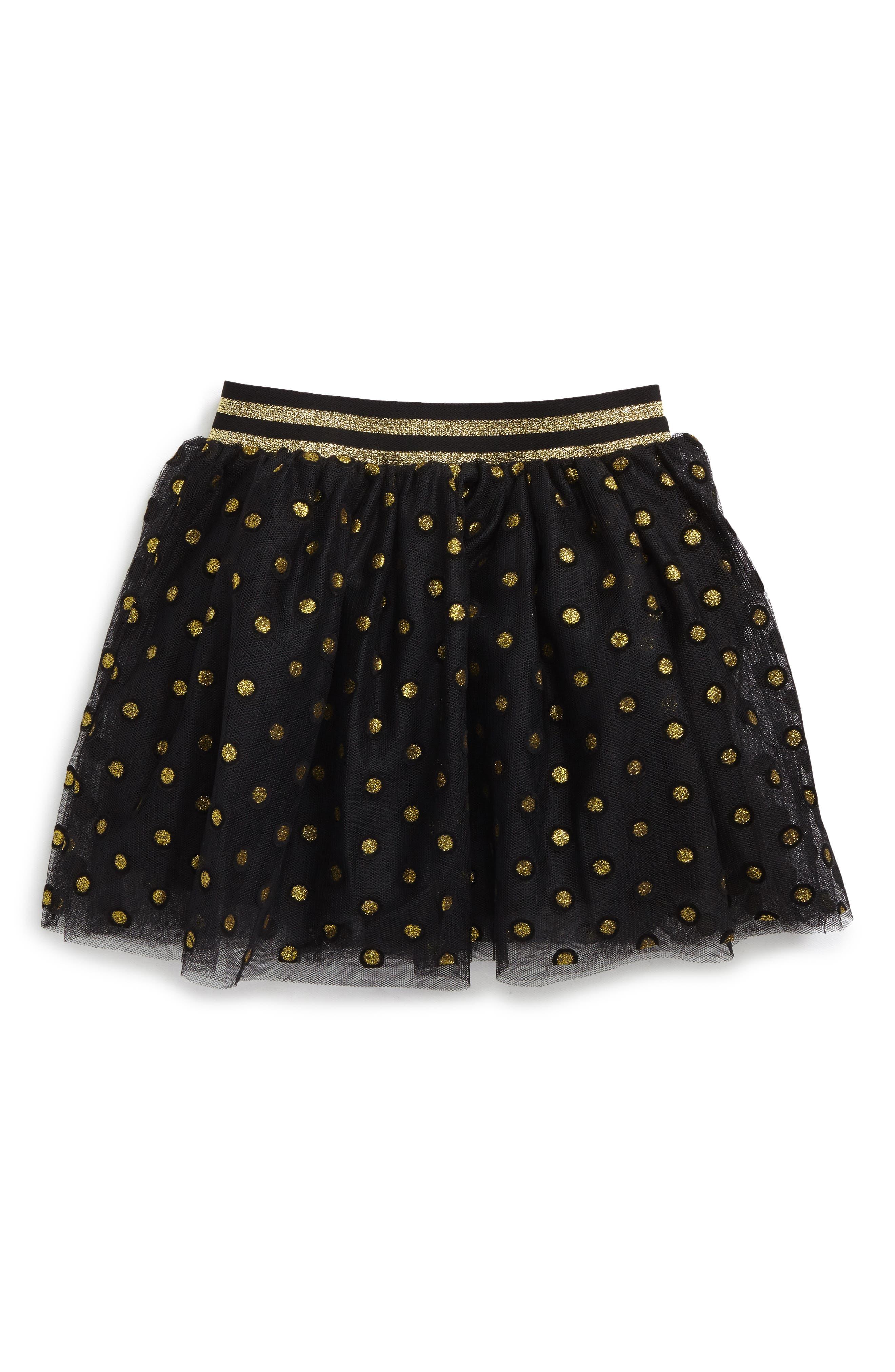 Sparkle Dot Tutu Skirt,                         Main,                         color, Black/ Gold
