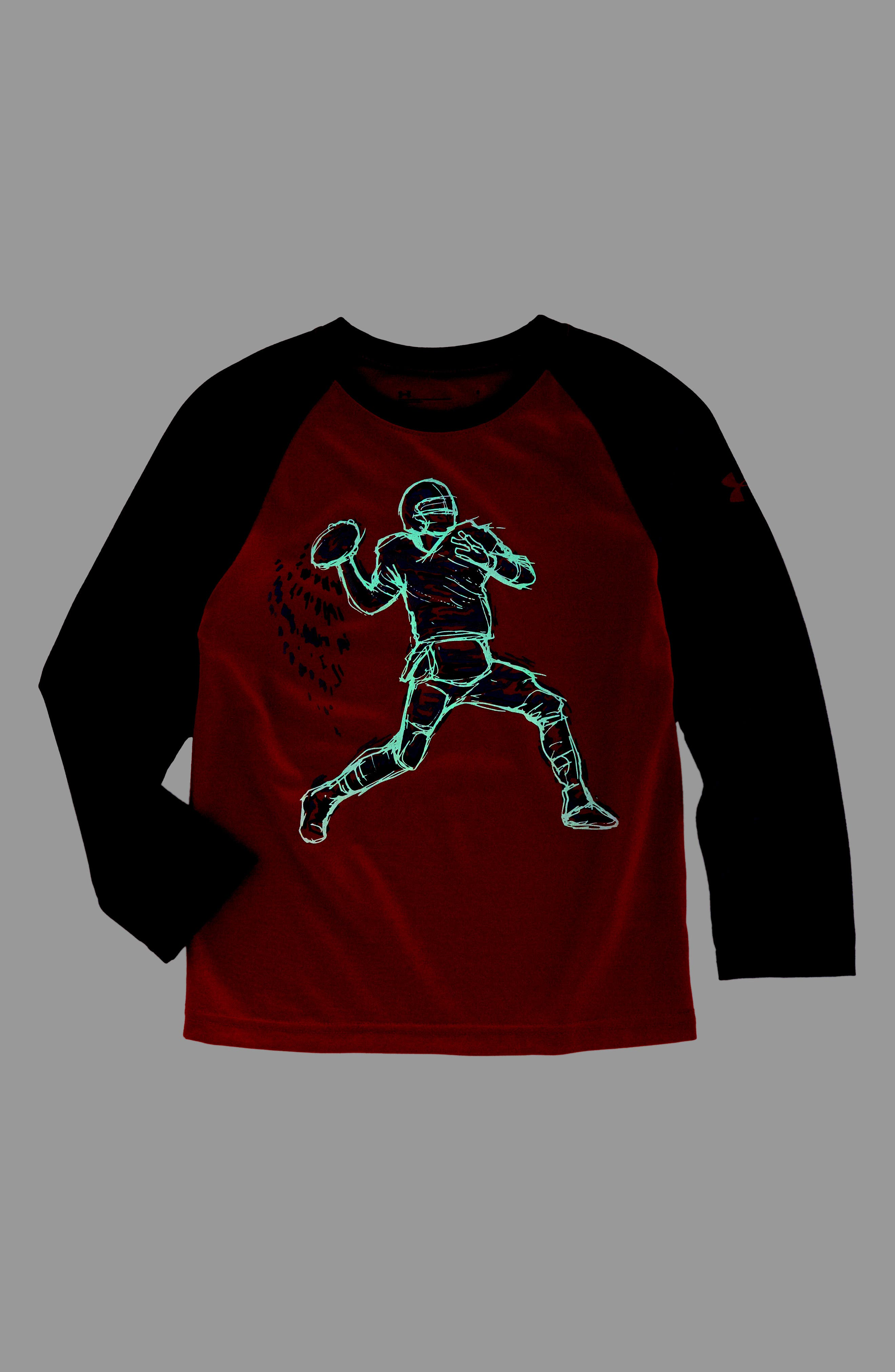 Illuminated QB Glow in the Dark T-Shirt,                             Alternate thumbnail 2, color,                             Red