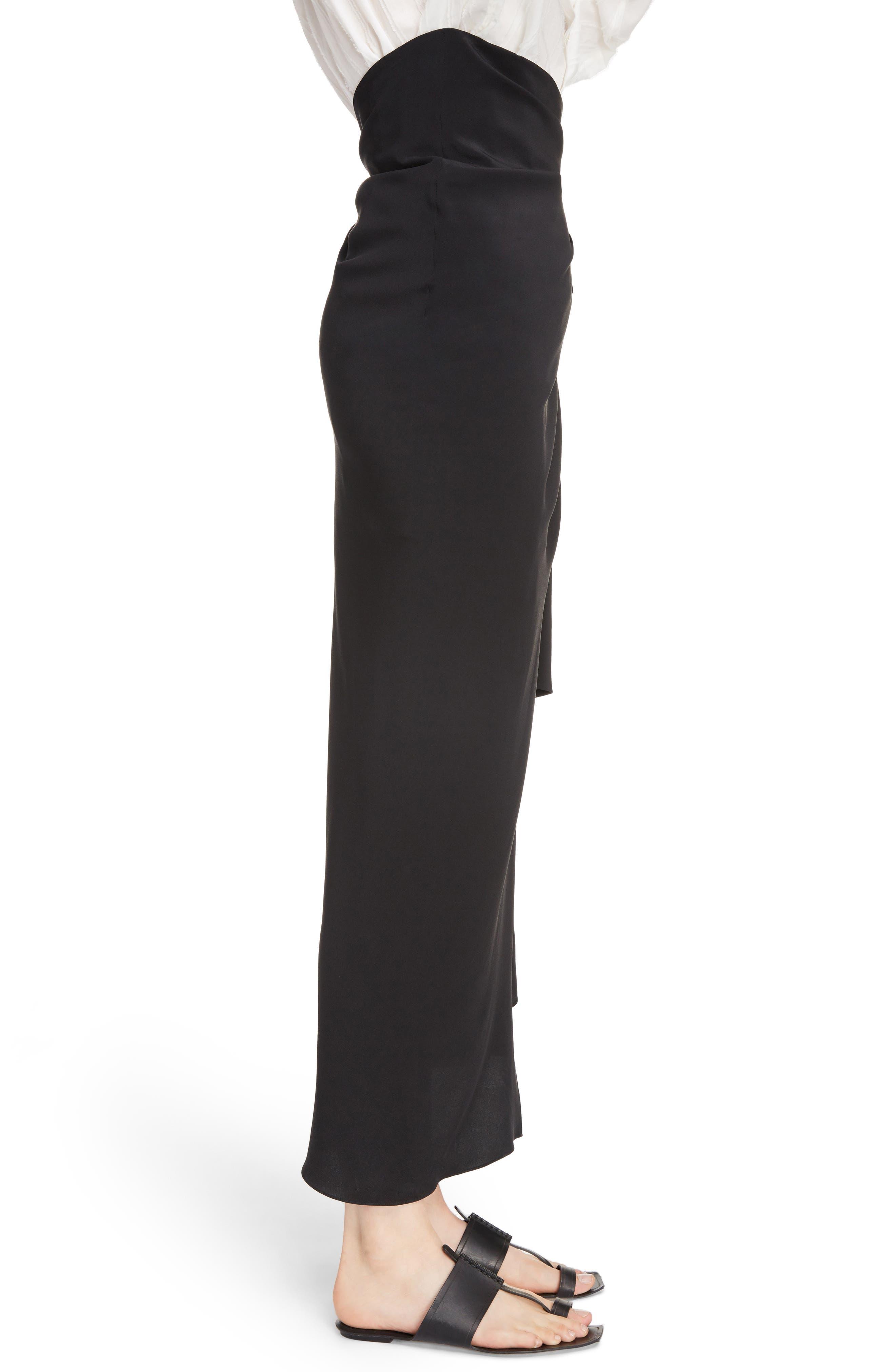 Side Tie Silk Crêpe de Chine Maxi Skirt,                             Alternate thumbnail 3, color,                             Noir