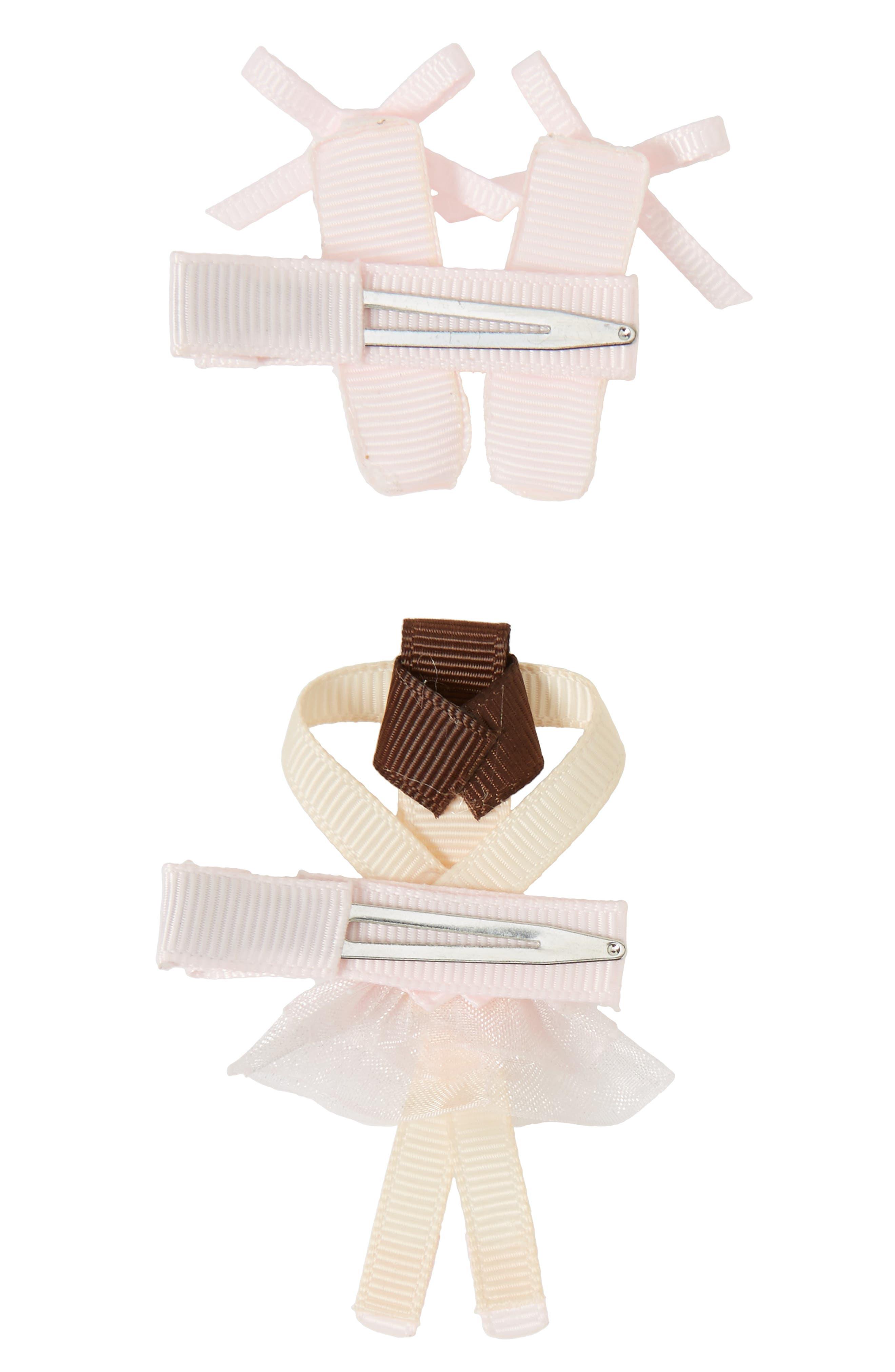 Alternate Image 2  - Milledeux 2-Piece Ballerina Hair Clip Set (Girls)