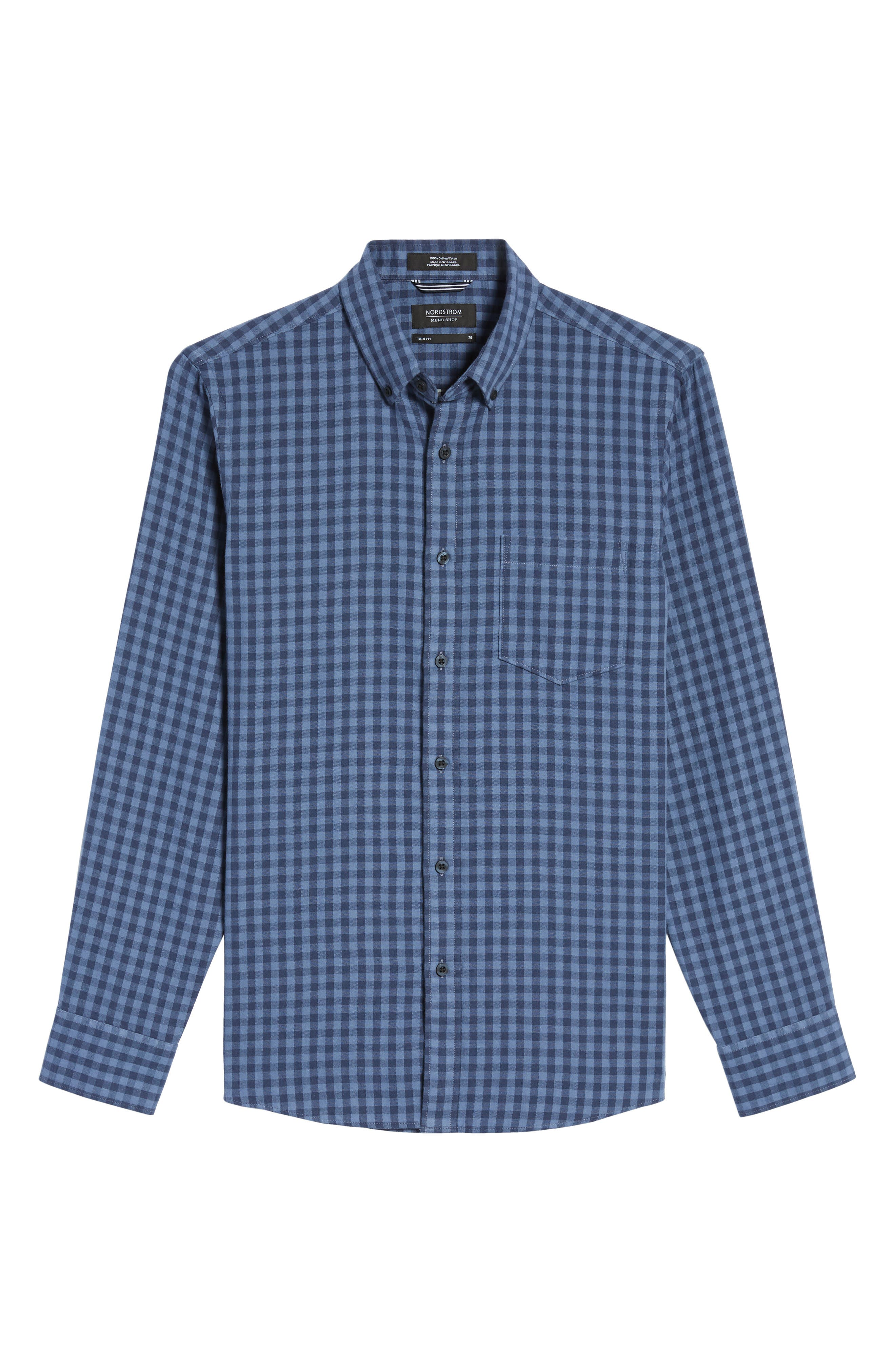 Trim Fit Duofold Check Sport Shirt,                             Alternate thumbnail 6, color,                             Blue Canal Navy Plaid Duofold