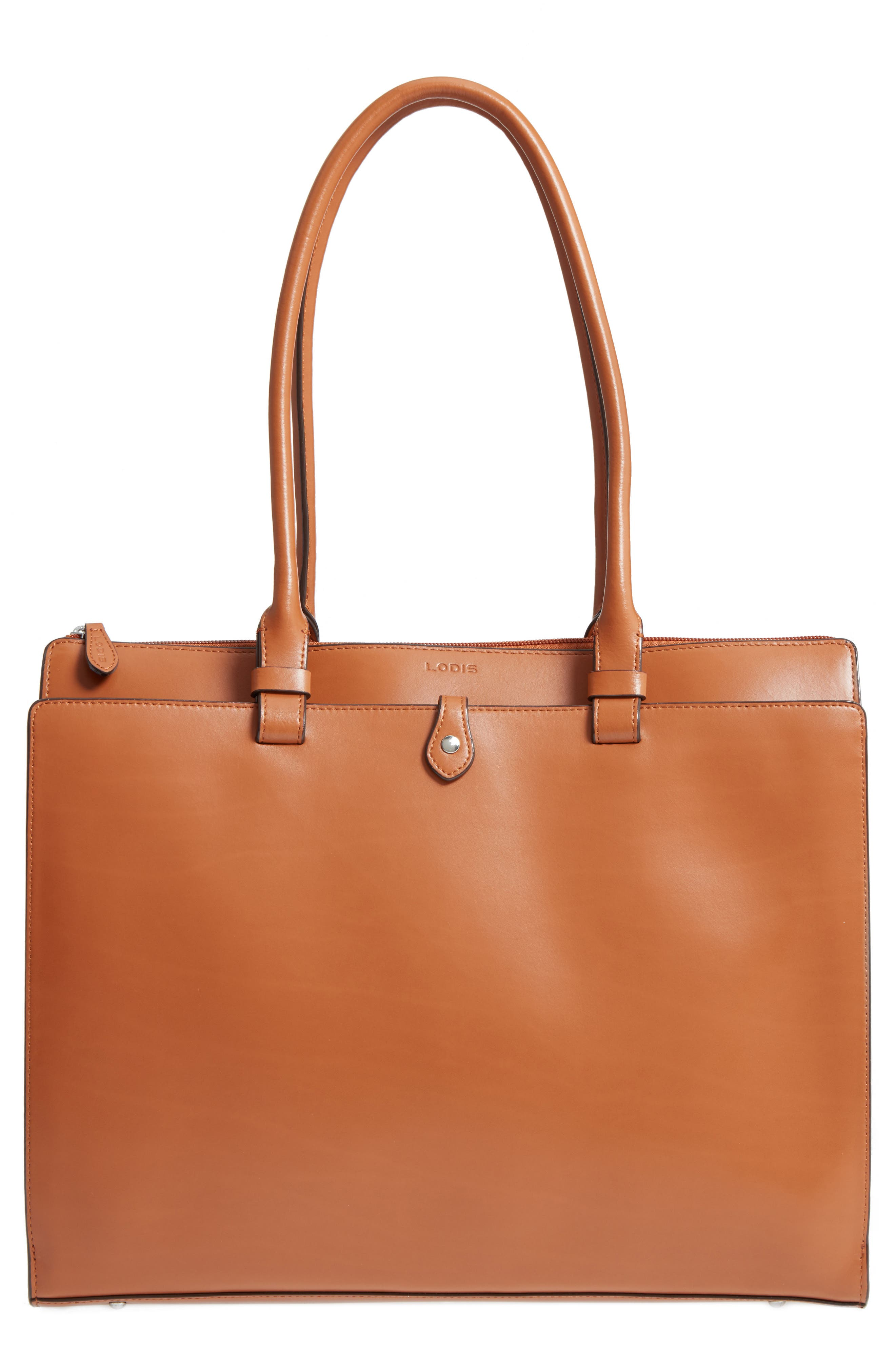 LODIS Audrey Under Lock & Key - Jessica RFID Leather Satchel,                         Main,                         color, Toffee