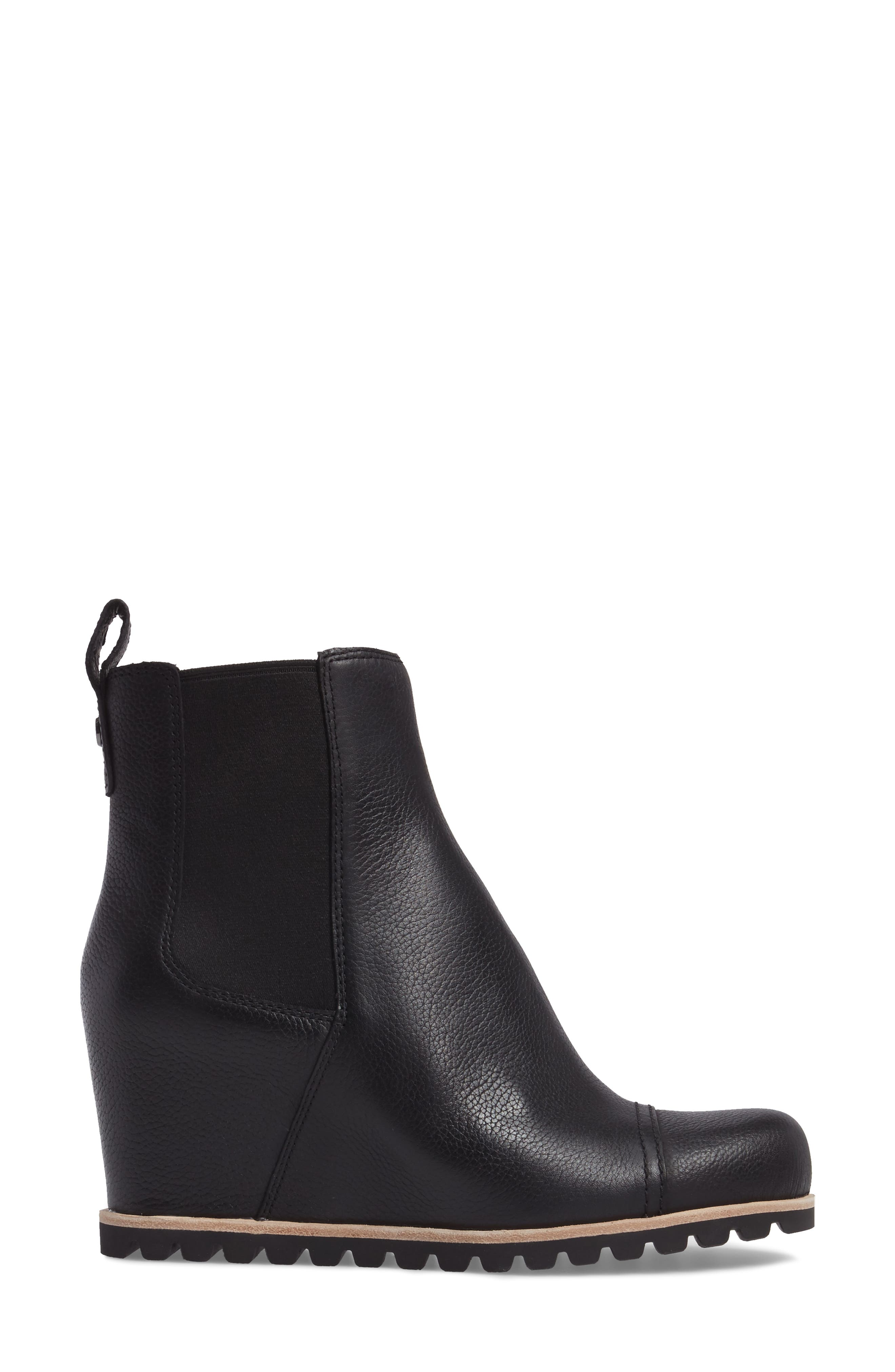 Pax Waterproof Wedge Boot,                             Alternate thumbnail 3, color,                             Black Leather