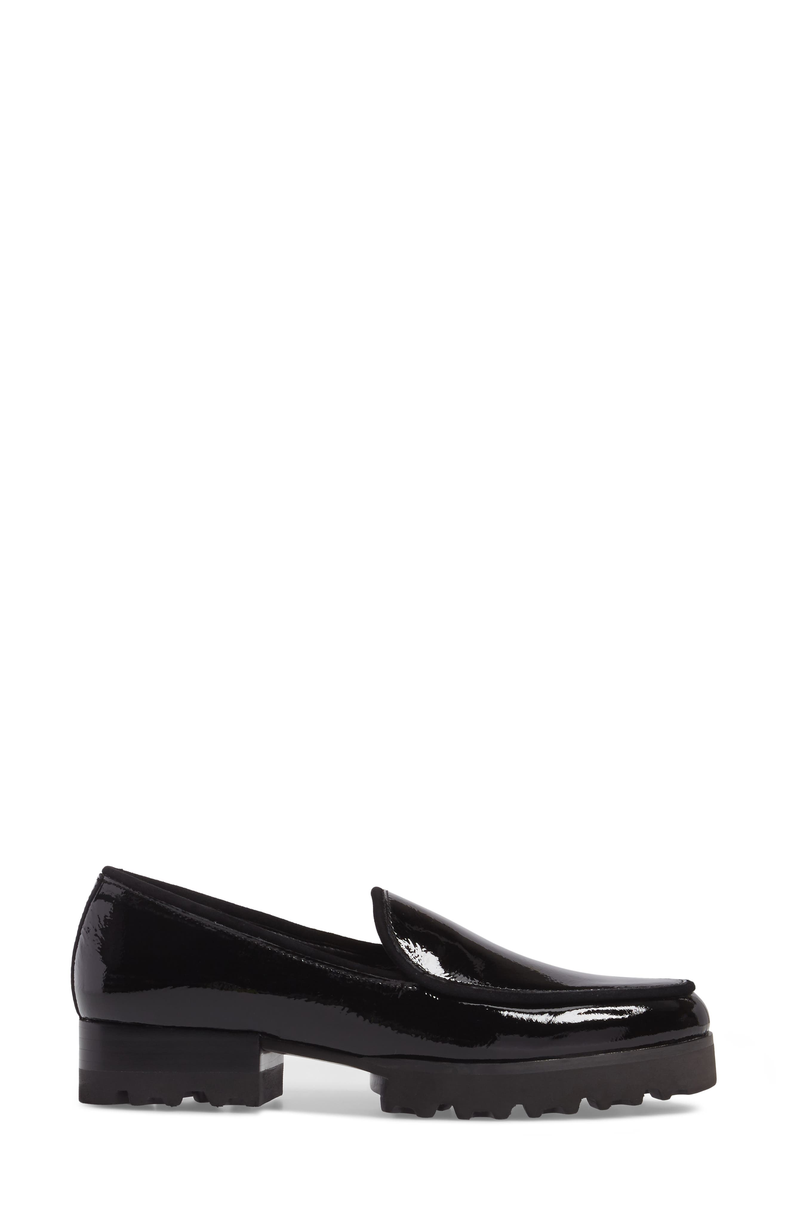 Elen Loafer,                             Alternate thumbnail 3, color,                             Black Leather