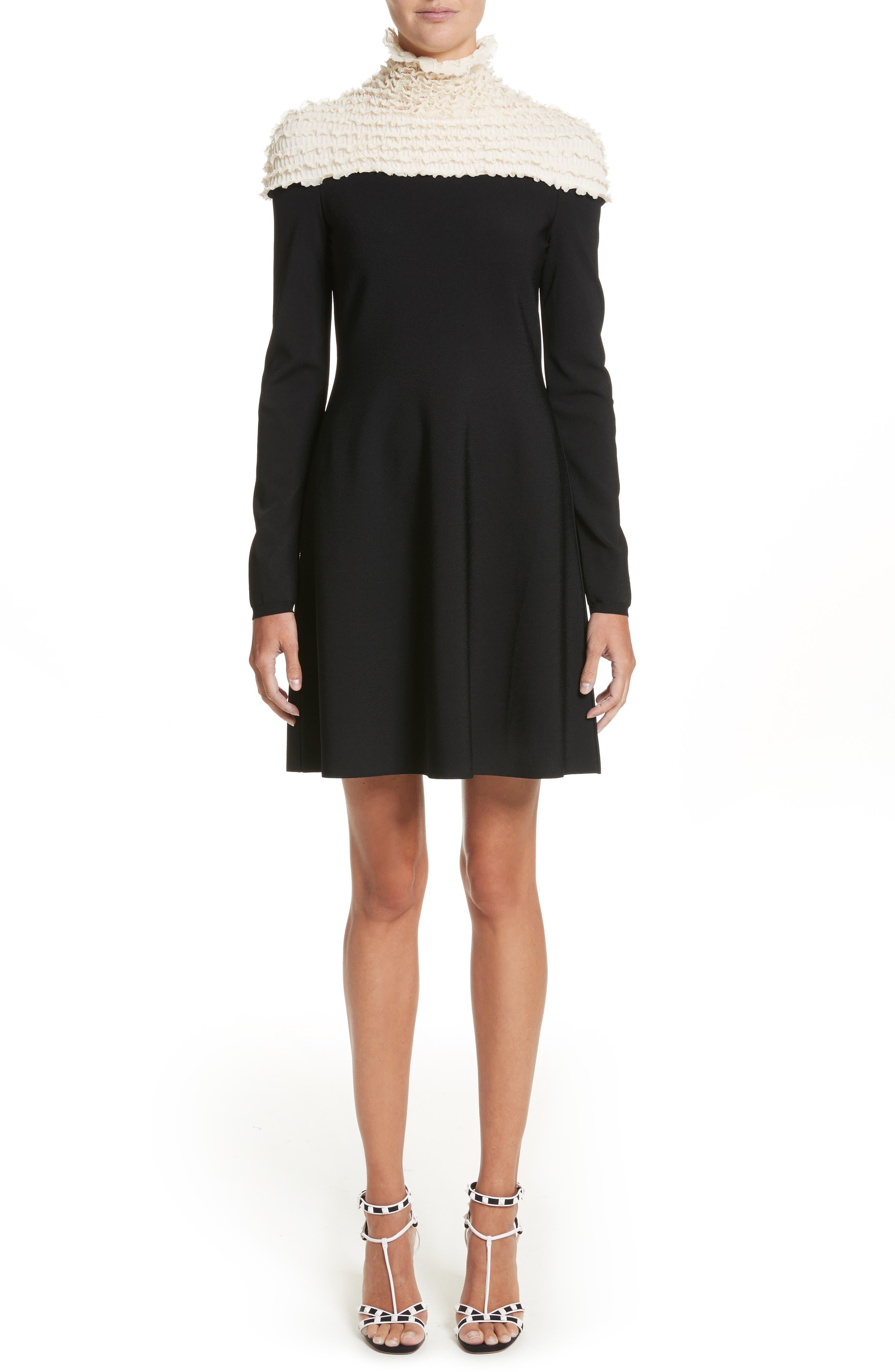 Ruffle Neckline Knit Dress,                             Main thumbnail 1, color,                             Black/ Ivory