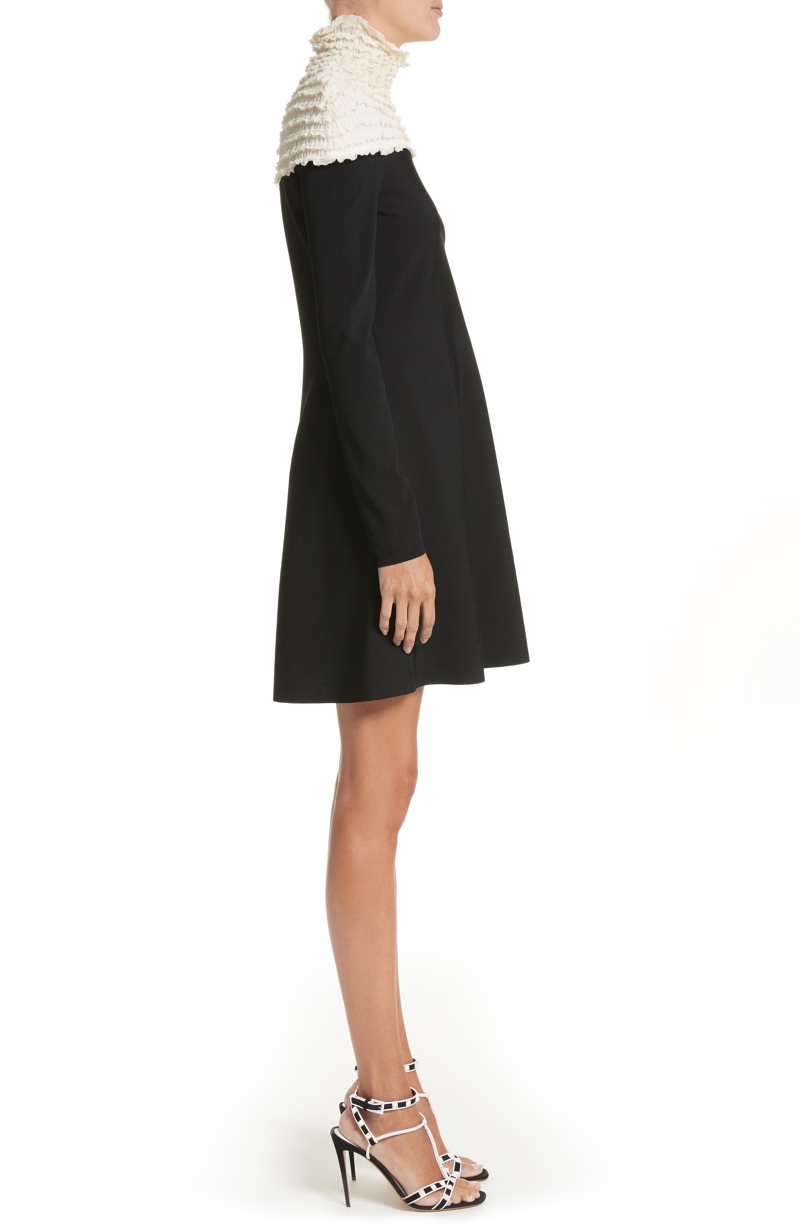Ruffle Neckline Knit Dress,                             Alternate thumbnail 3, color,                             Black/ Ivory