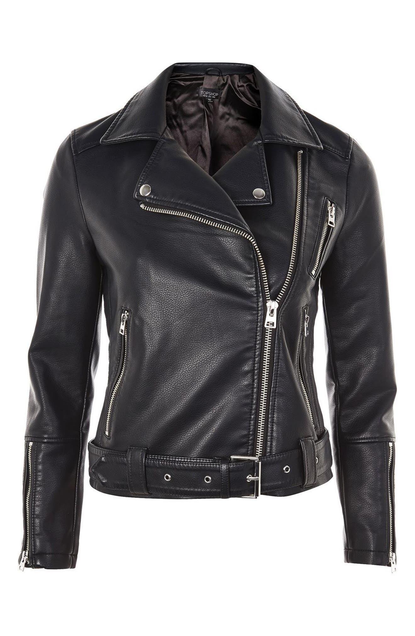 Willow Faux Leather Biker Jacket,                             Alternate thumbnail 4, color,                             Black