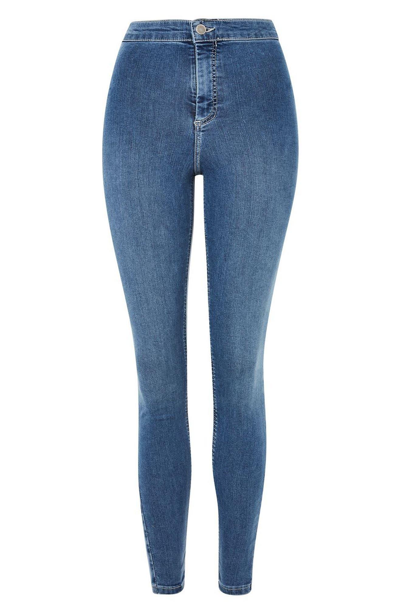 Joni Contrast Stitch High Rise Skinny Jeans,                             Alternate thumbnail 3, color,                             Mid Denim
