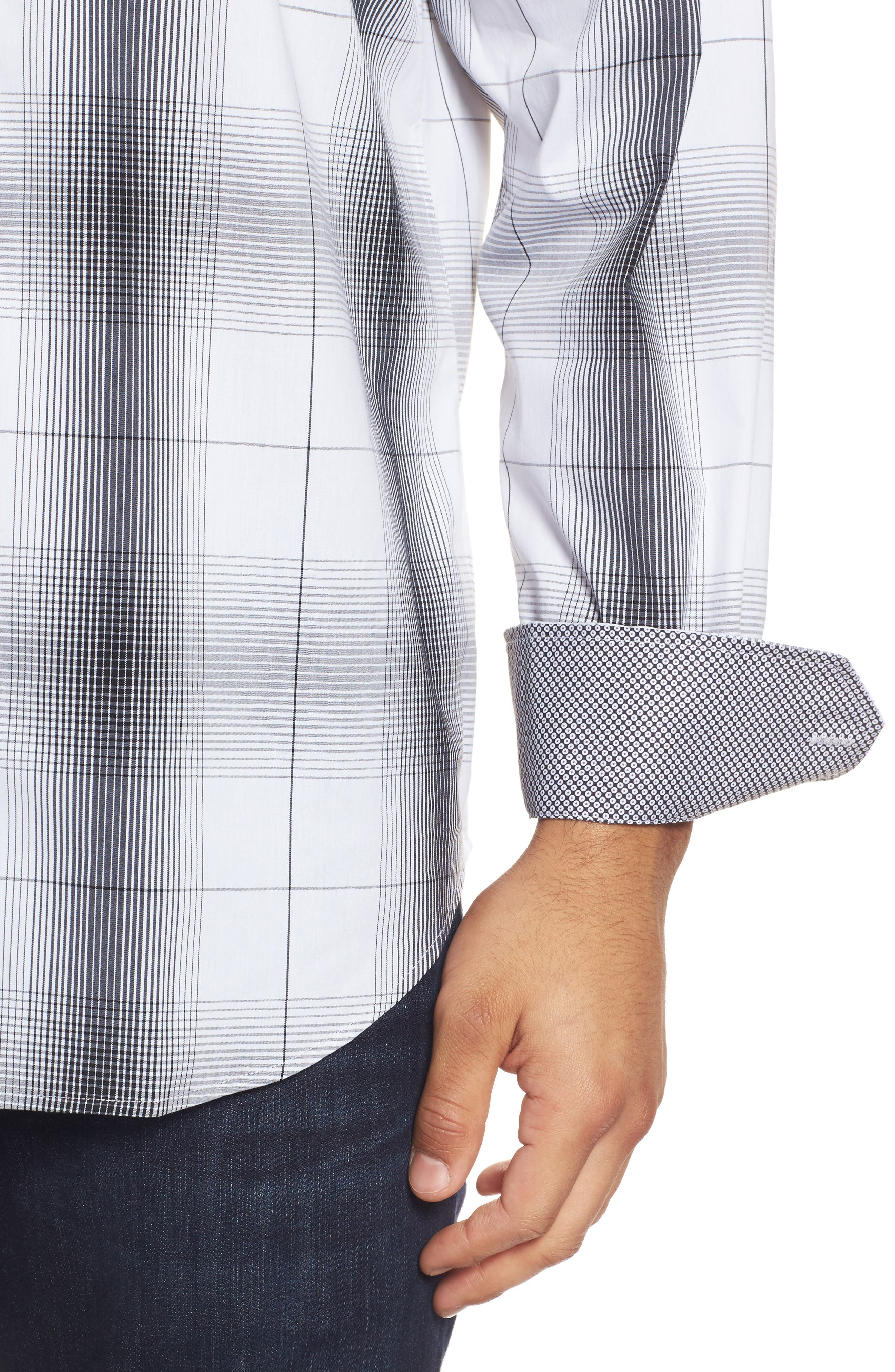 Alternate Image 4  - Bugatchi Classic Fit Ombré Plaid Sport Shirt