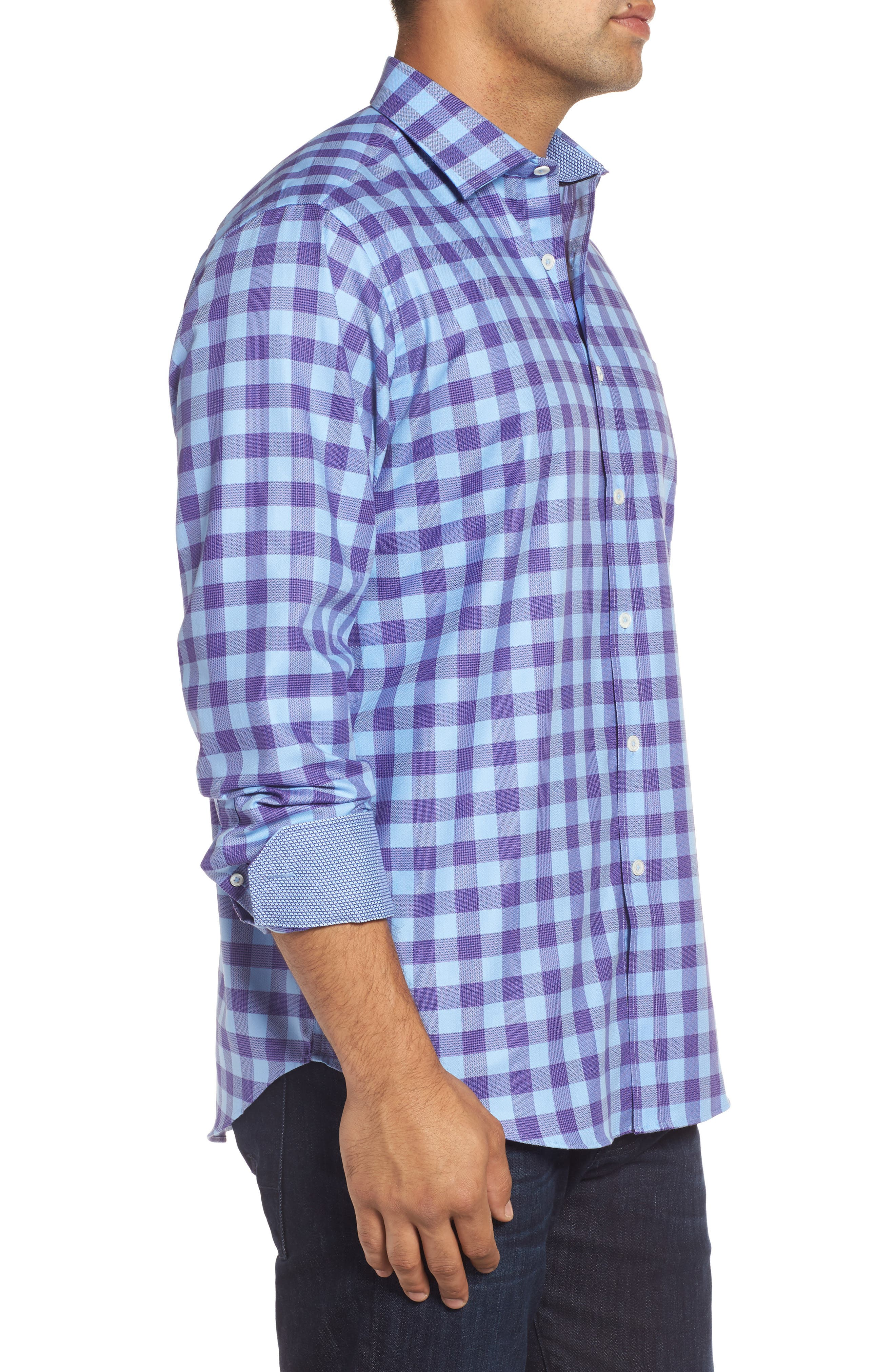 Classic Fit Woven Check Sport Shirt,                             Alternate thumbnail 3, color,                             Orchid