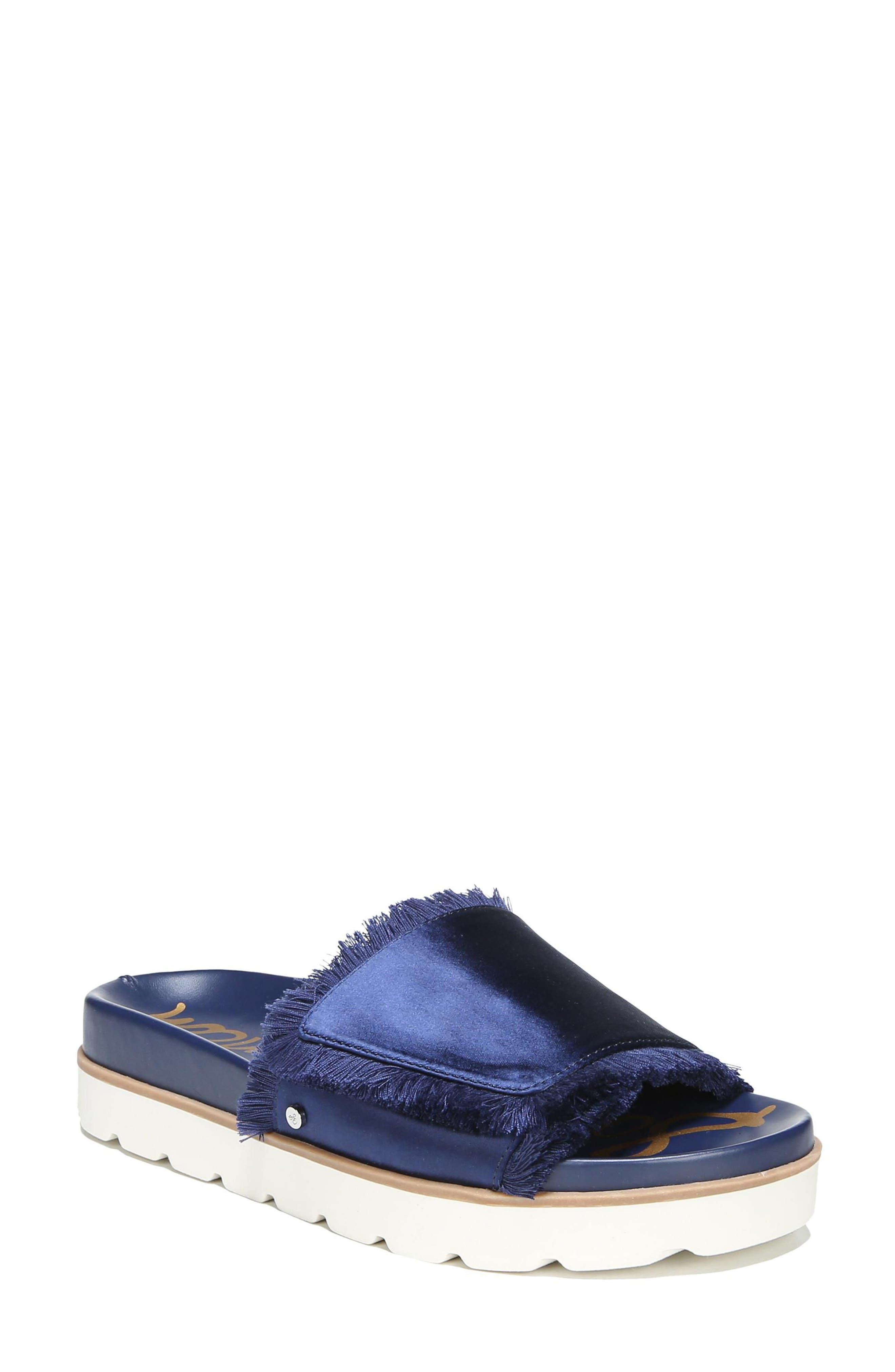 Mares Slide Sandal,                             Main thumbnail 1, color,                             Poseidon Blue Satin