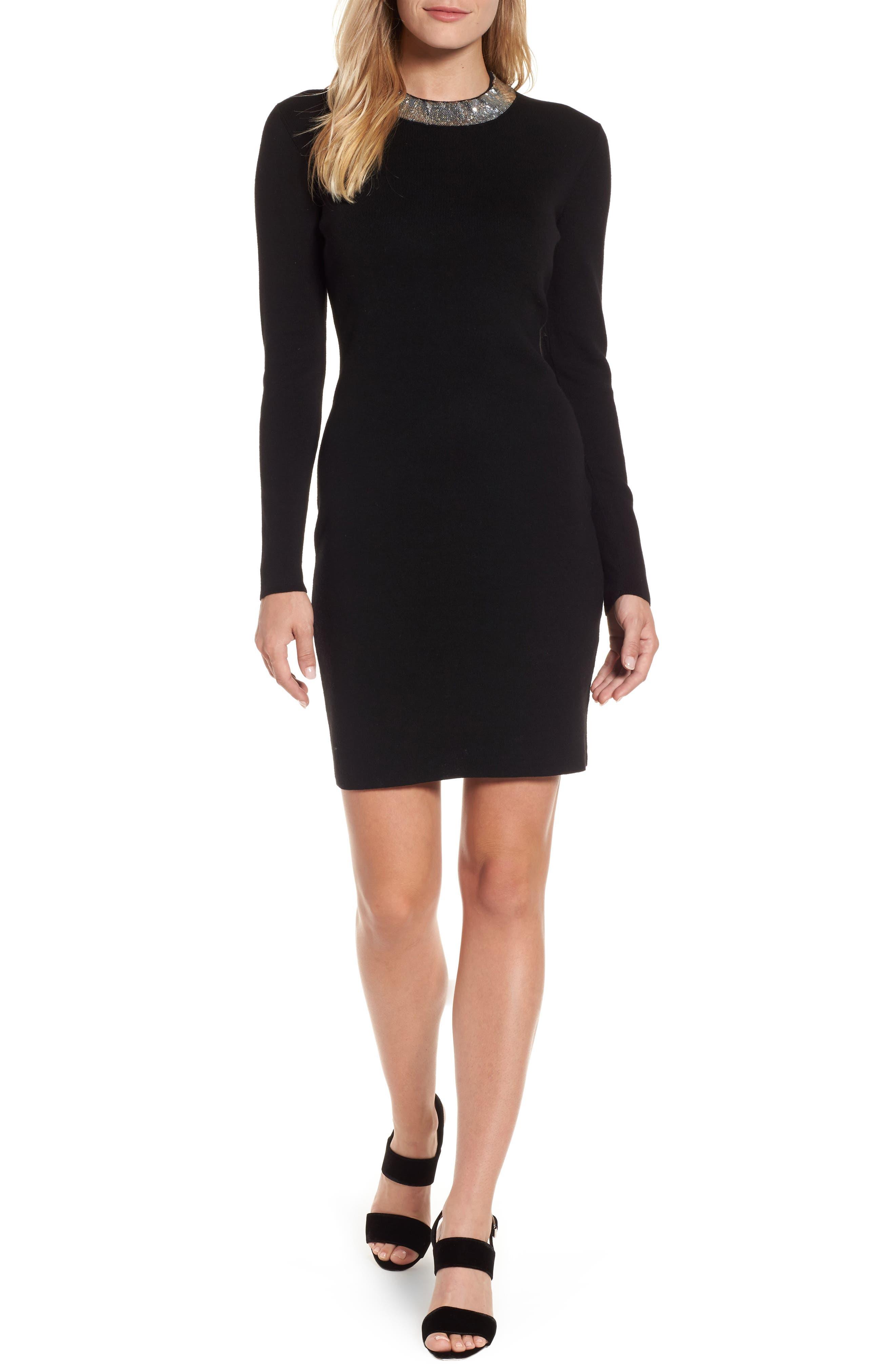 Sequin Collar Dress,                         Main,                         color, Black/ Silver