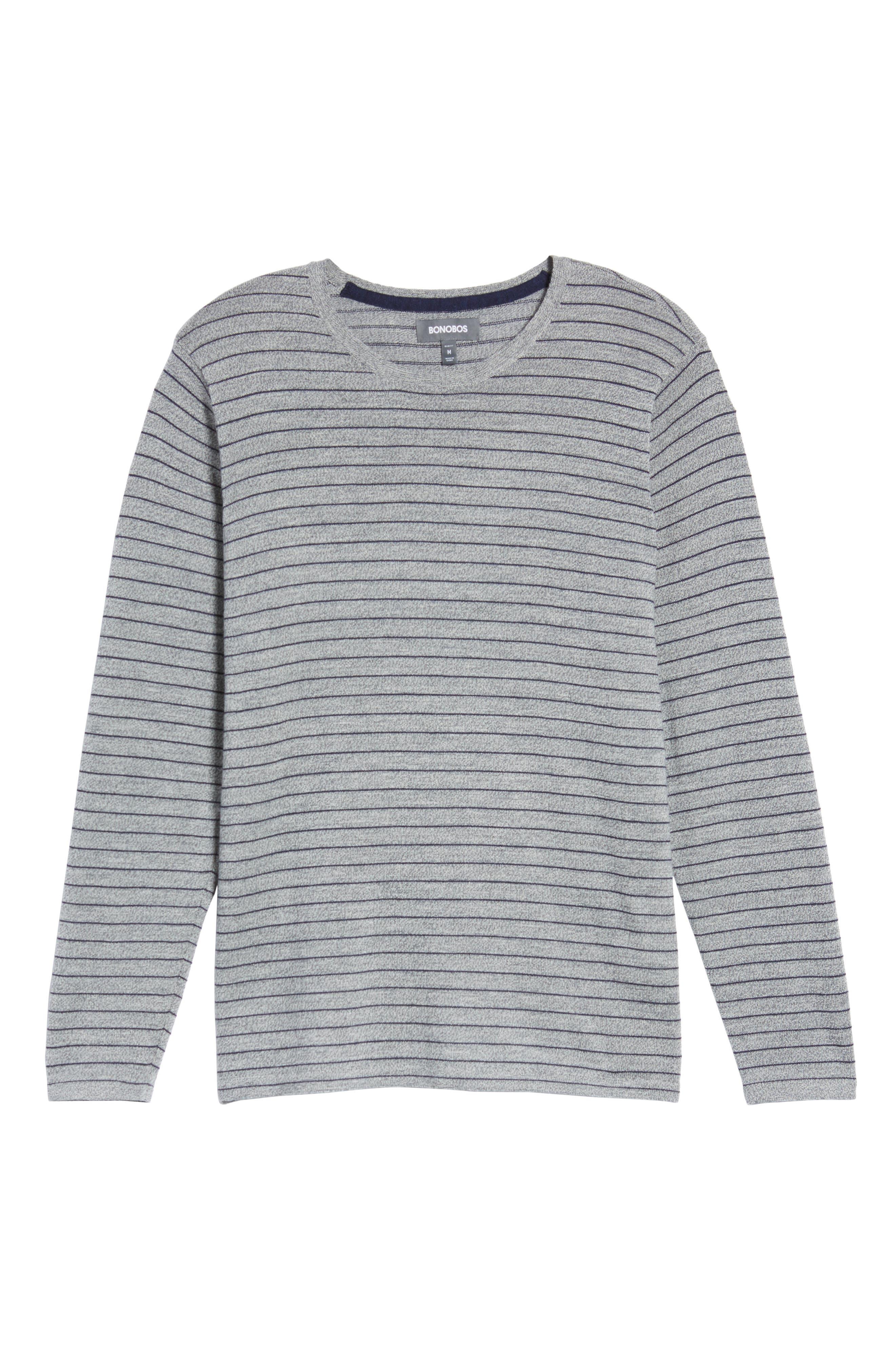 Nori Stripe Merino Wool T-Shirt,                             Alternate thumbnail 6, color,                             Heather Ink