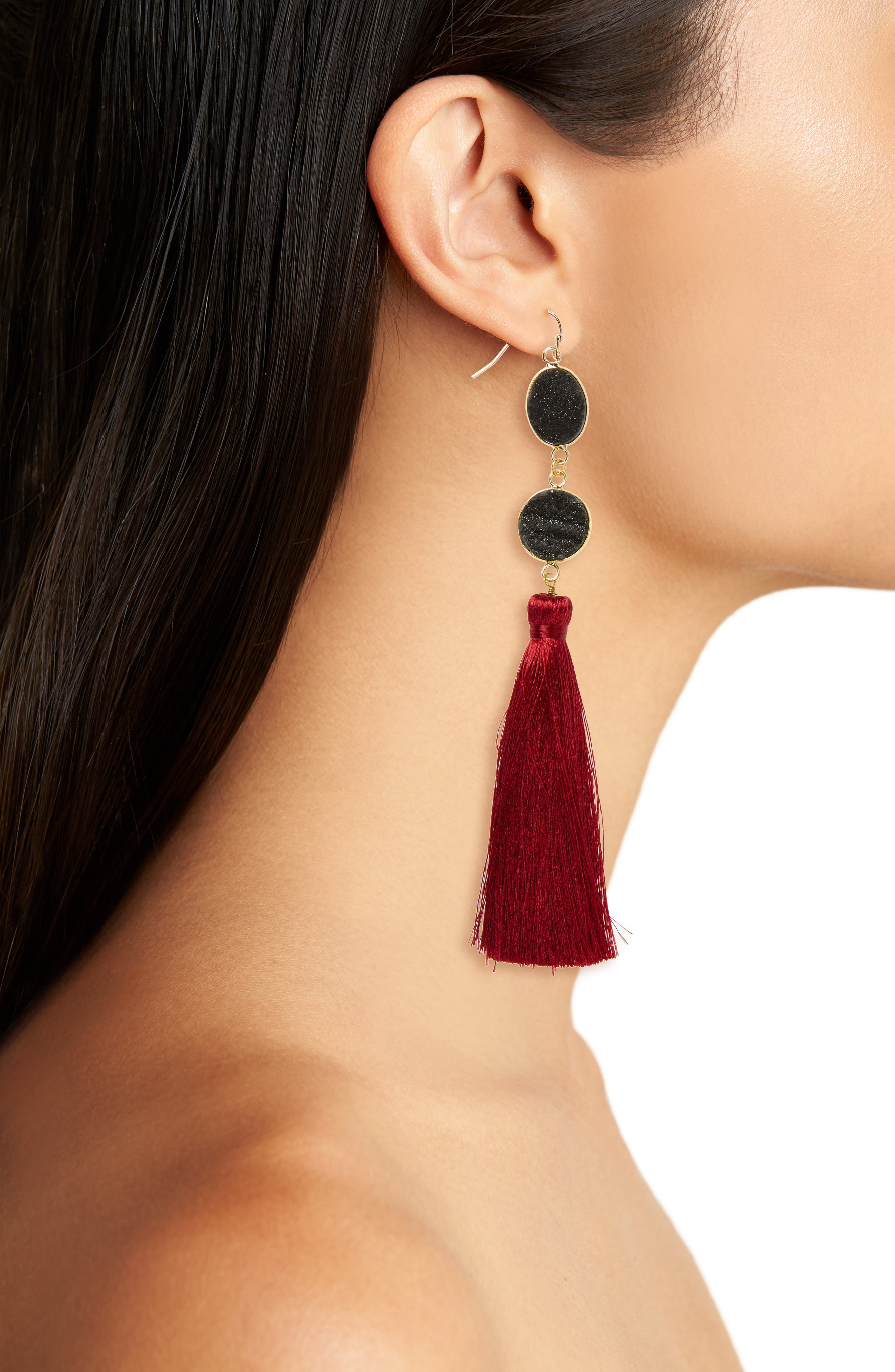 Drusy Quartz Tassel Earrings,                             Alternate thumbnail 2, color,                             Multi