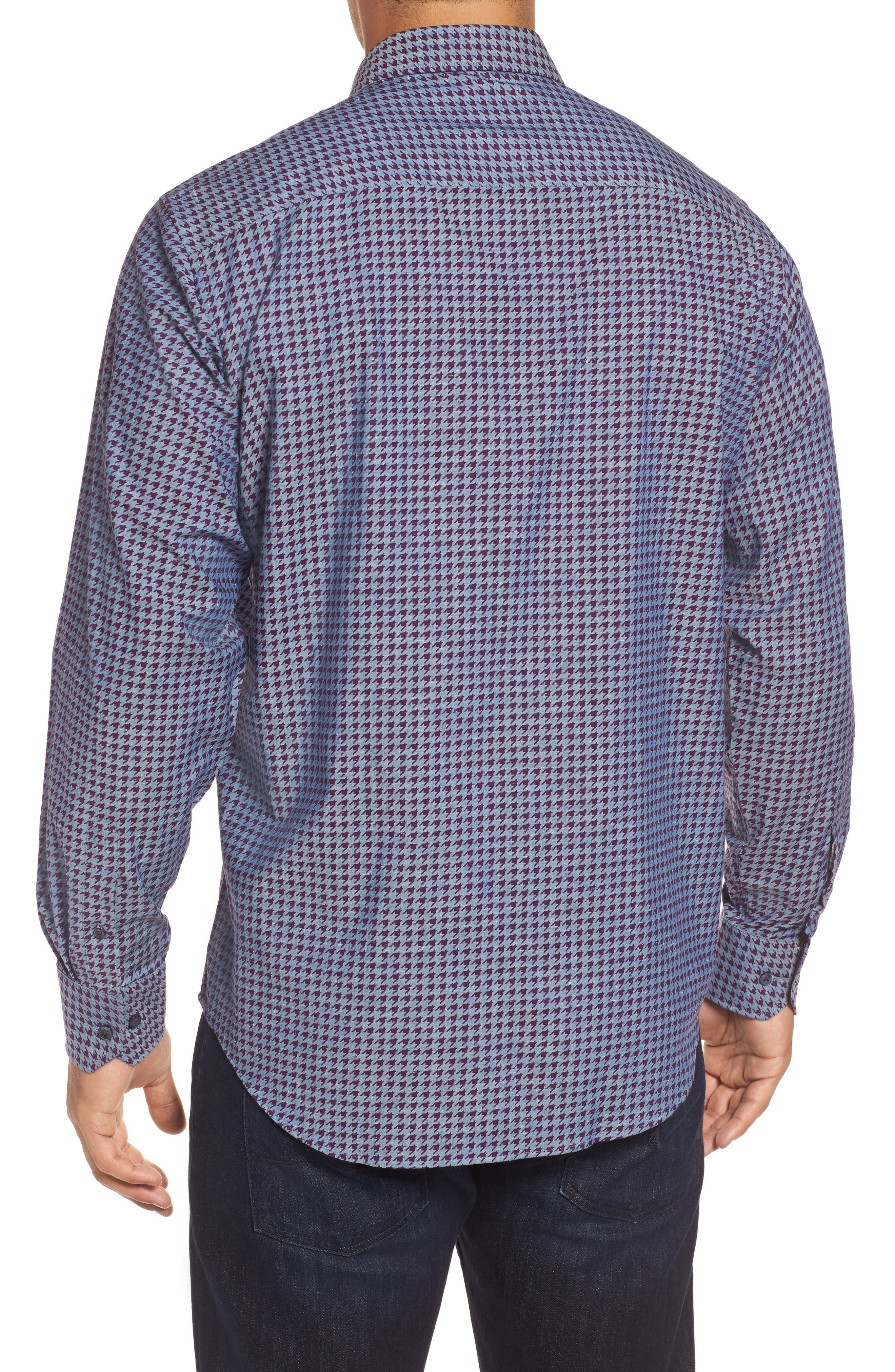 Classic Fit Houndstooth Print Sport Shirt,                             Alternate thumbnail 2, color,                             Bordeaux