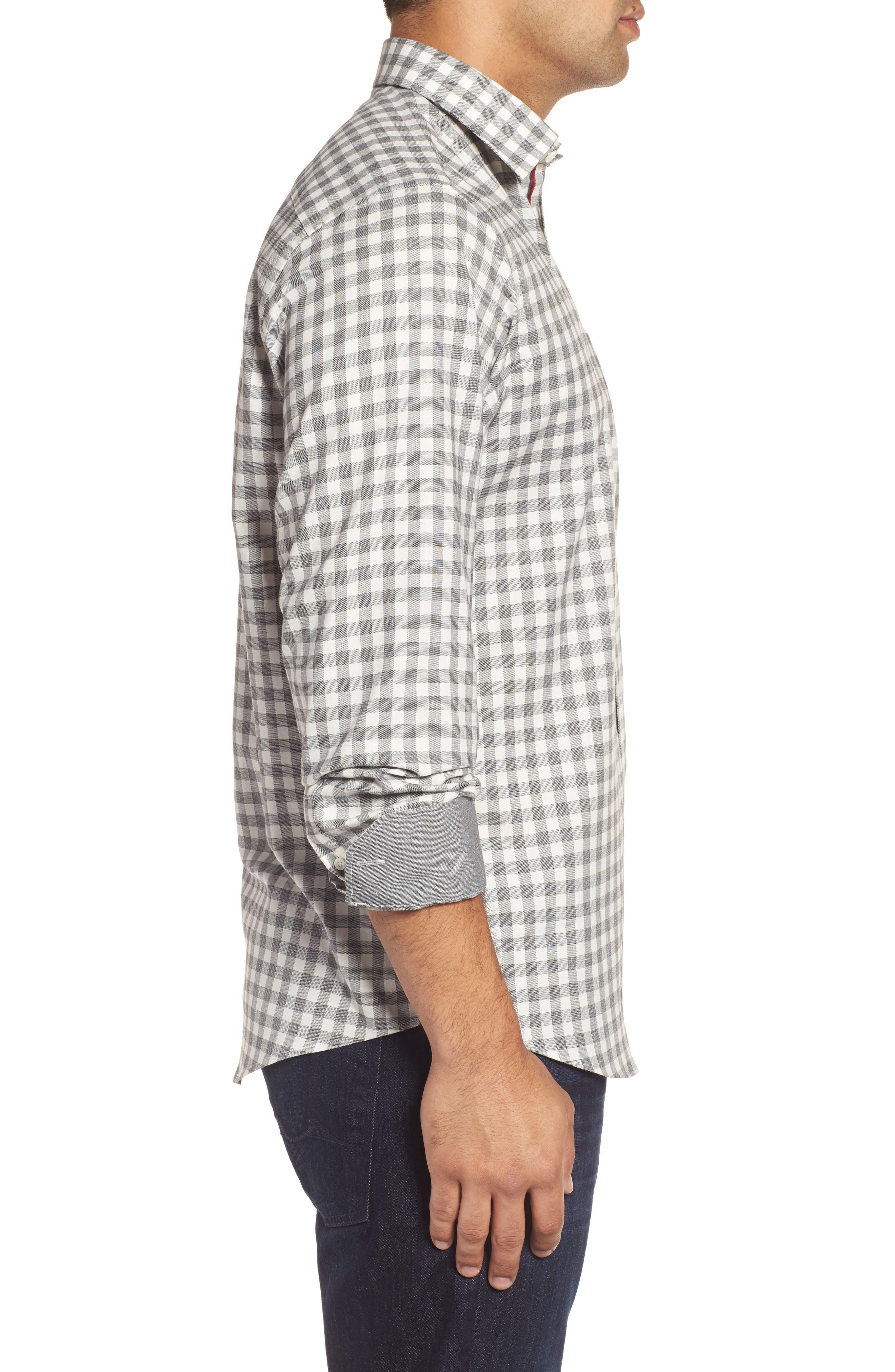 Alternate Image 3  - Bugatchi Classic Fit Slubbed Check Sport Shirt