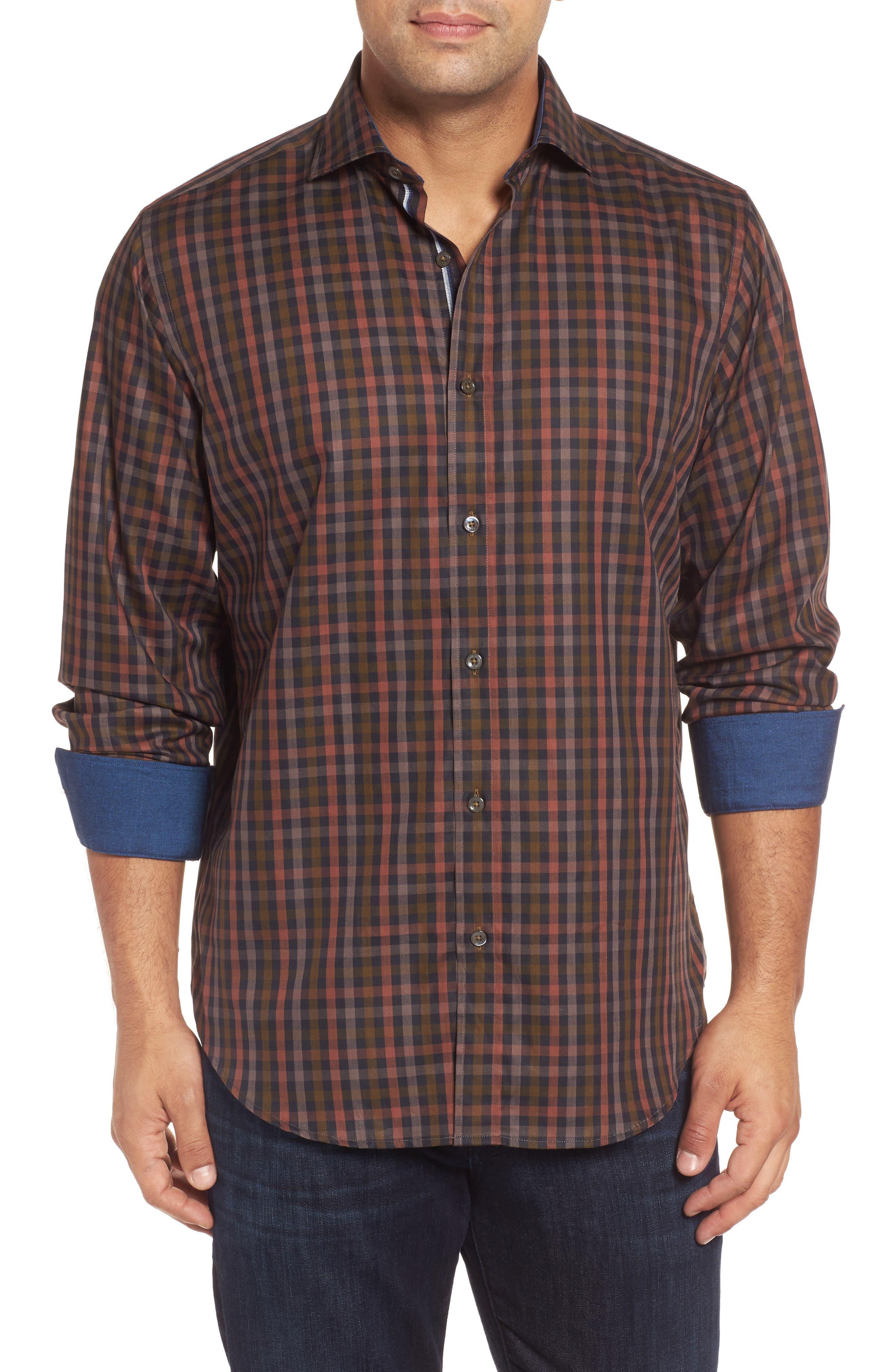 Classic Fit Check Twill Sport Shirt,                         Main,                         color, Khaki
