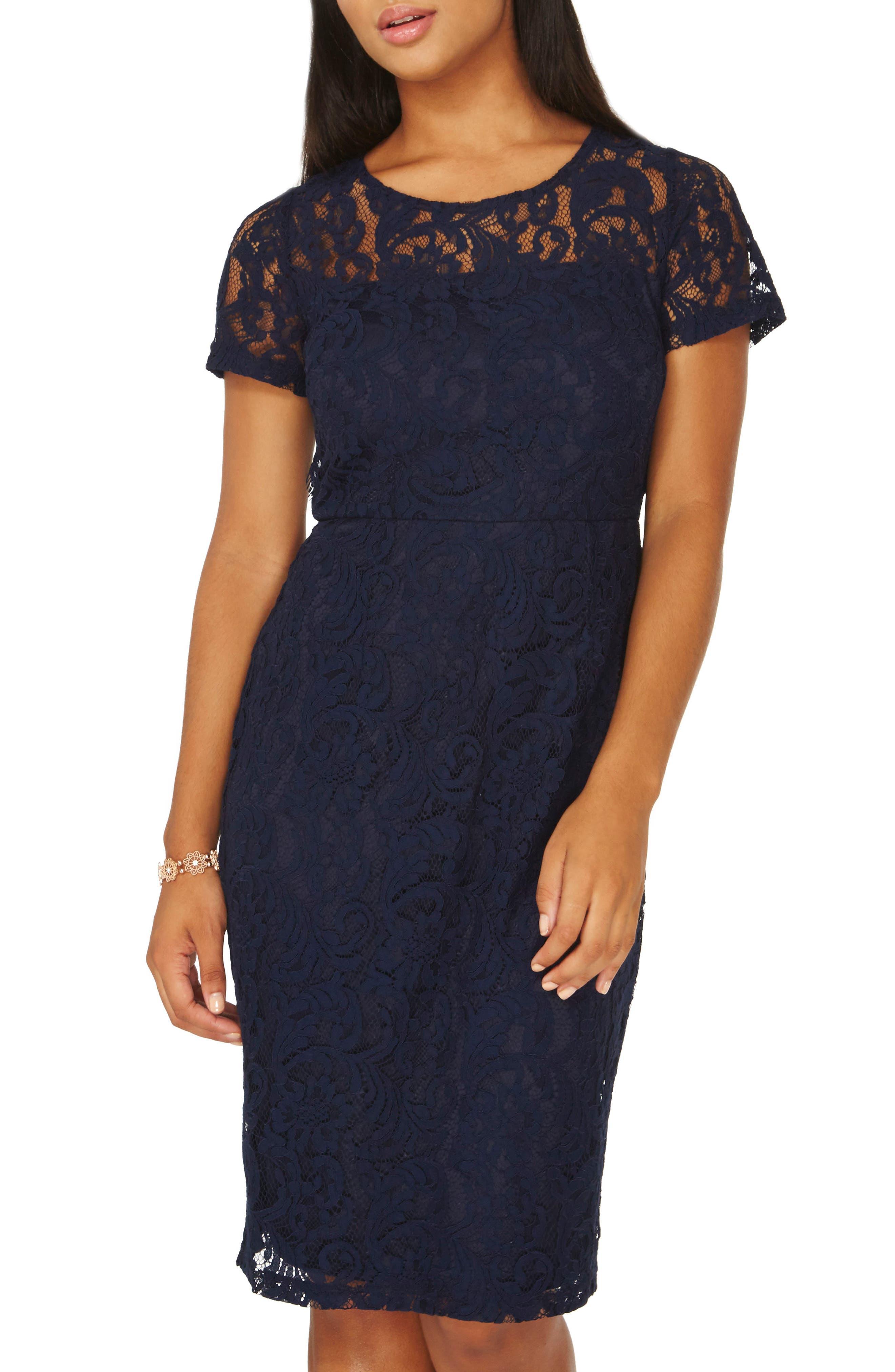 Lace Pencil Dress,                             Main thumbnail 1, color,                             Navy