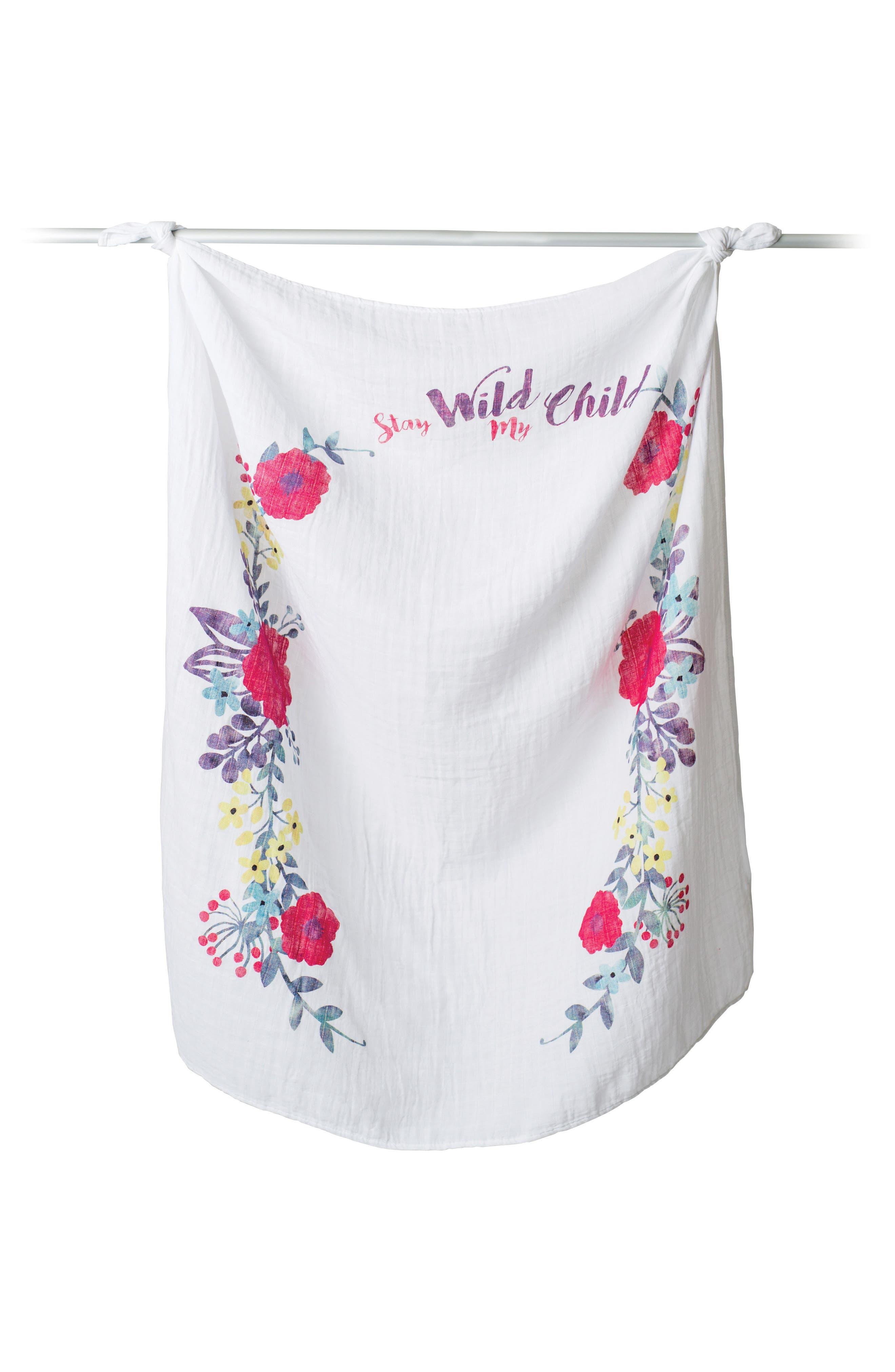 Lulujo Baby's First Year - Stay Wild My Child Muslin Blanket & Milestone Card Set (Baby Girls)