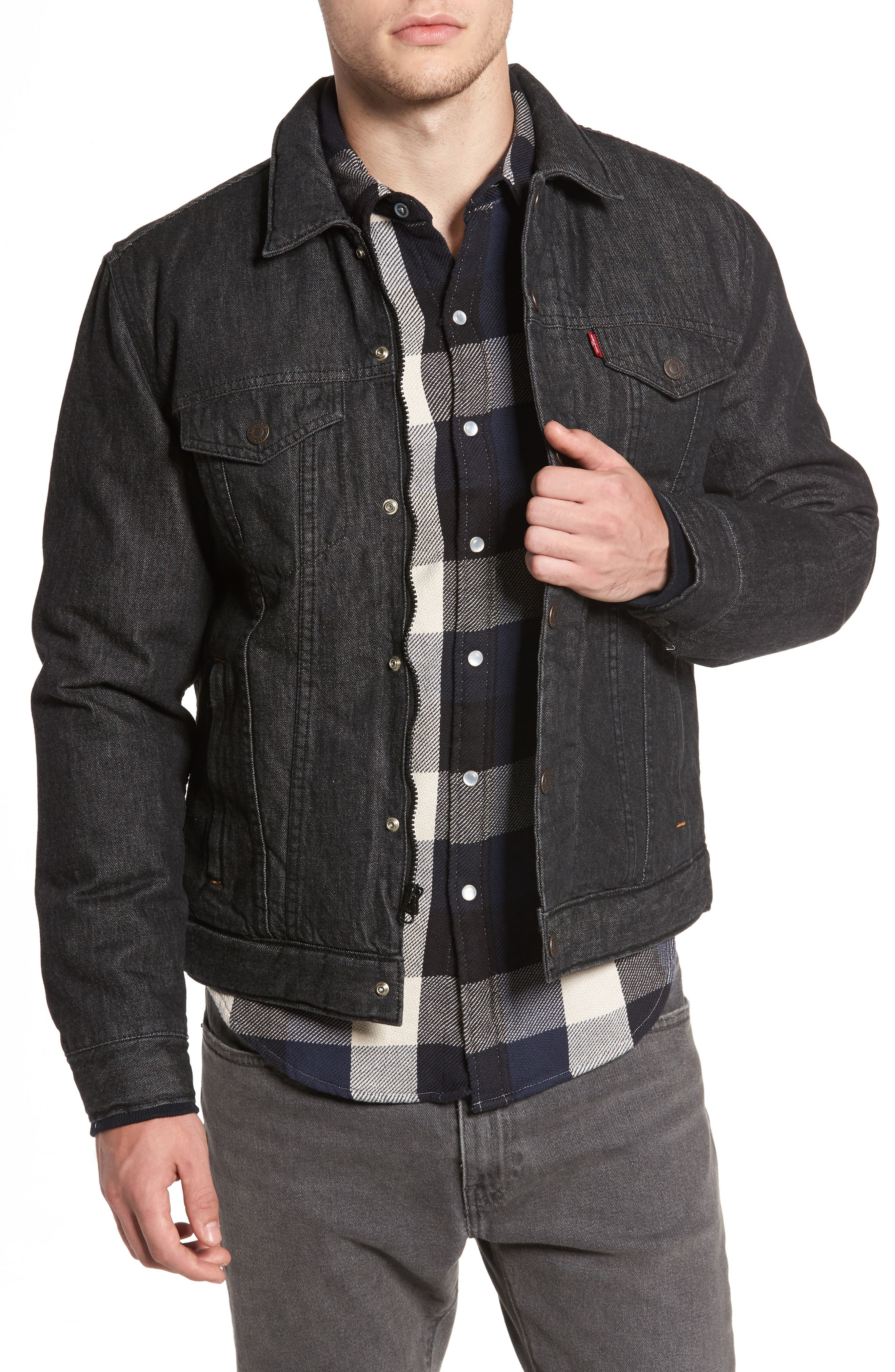 Down Insulated Trucker Jacket,                             Main thumbnail 1, color,                             Black