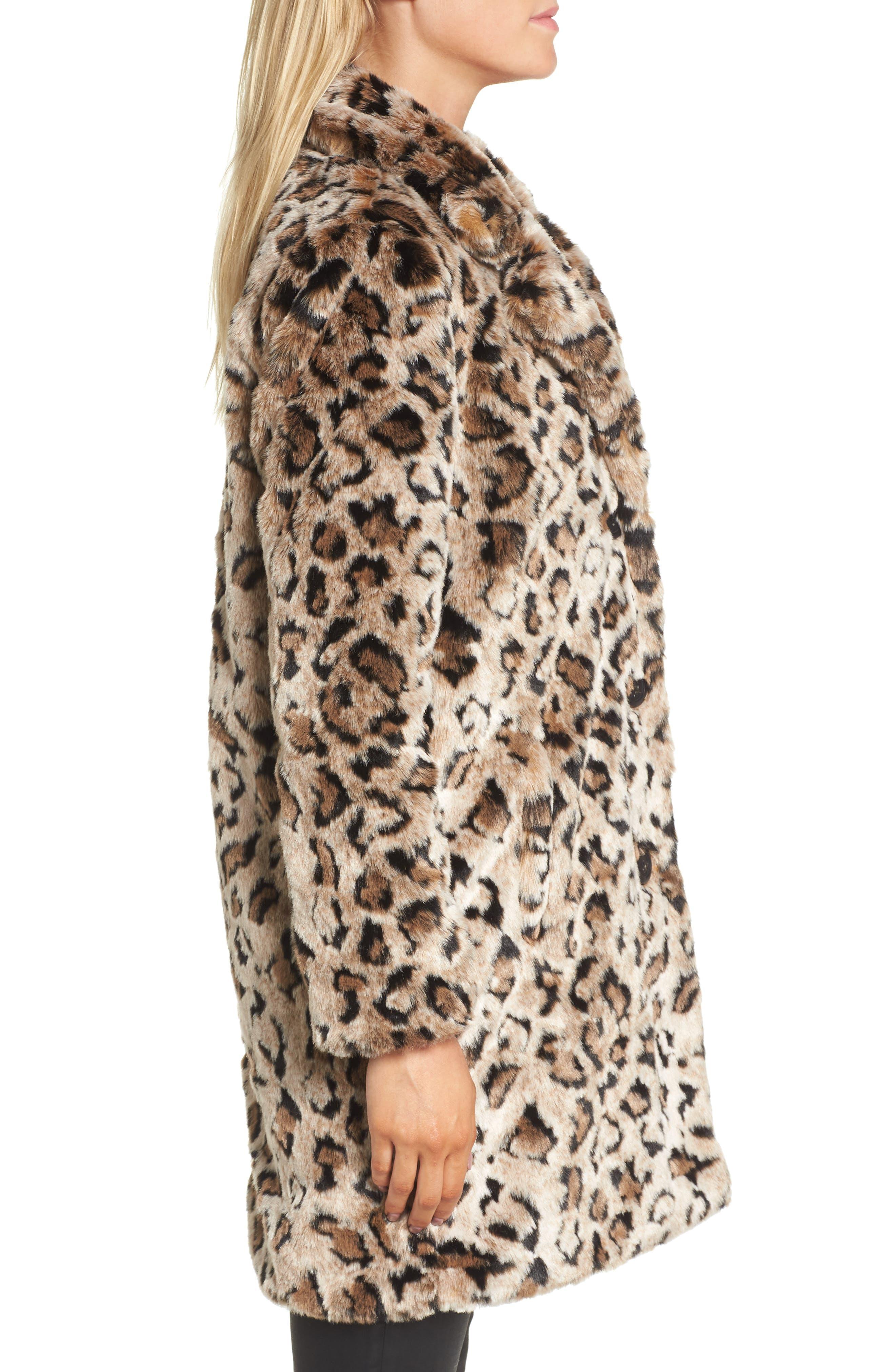 Rooney Leopard Spot Faux Fur Coat,                             Alternate thumbnail 3, color,                             Brown