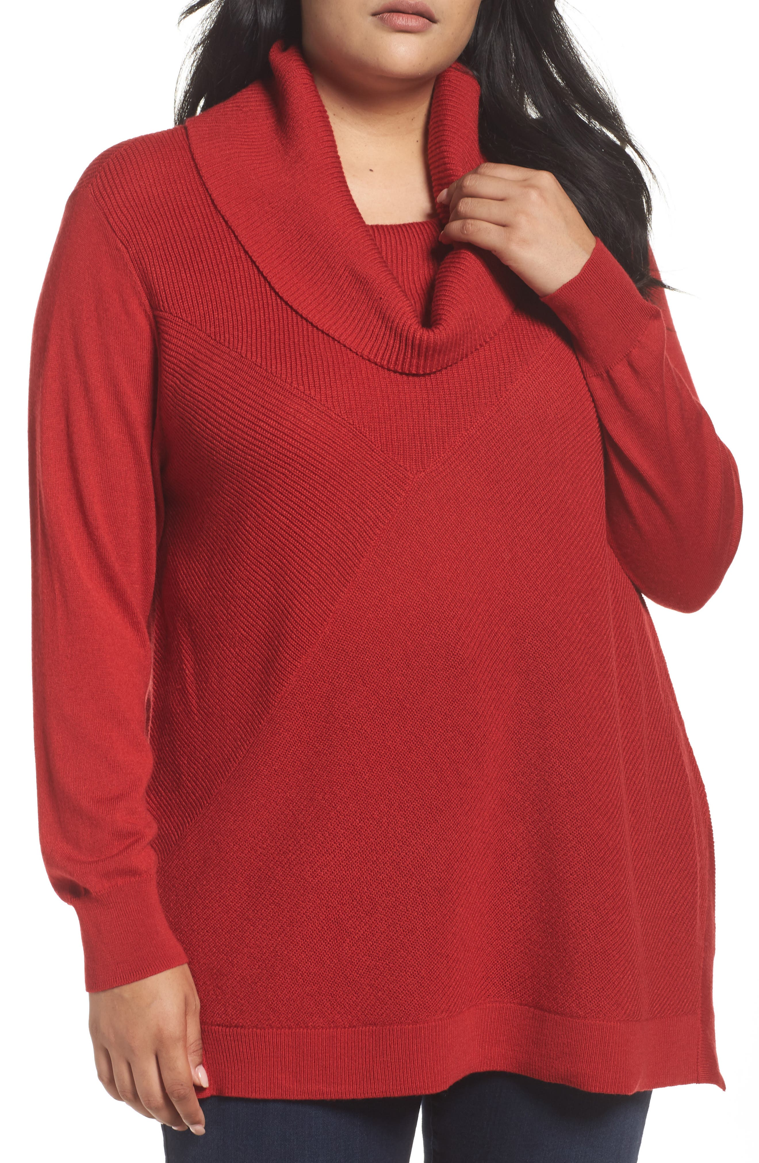 Cowl Neck Ribbed Trim Pullover,                             Main thumbnail 1, color,                             Red Sage
