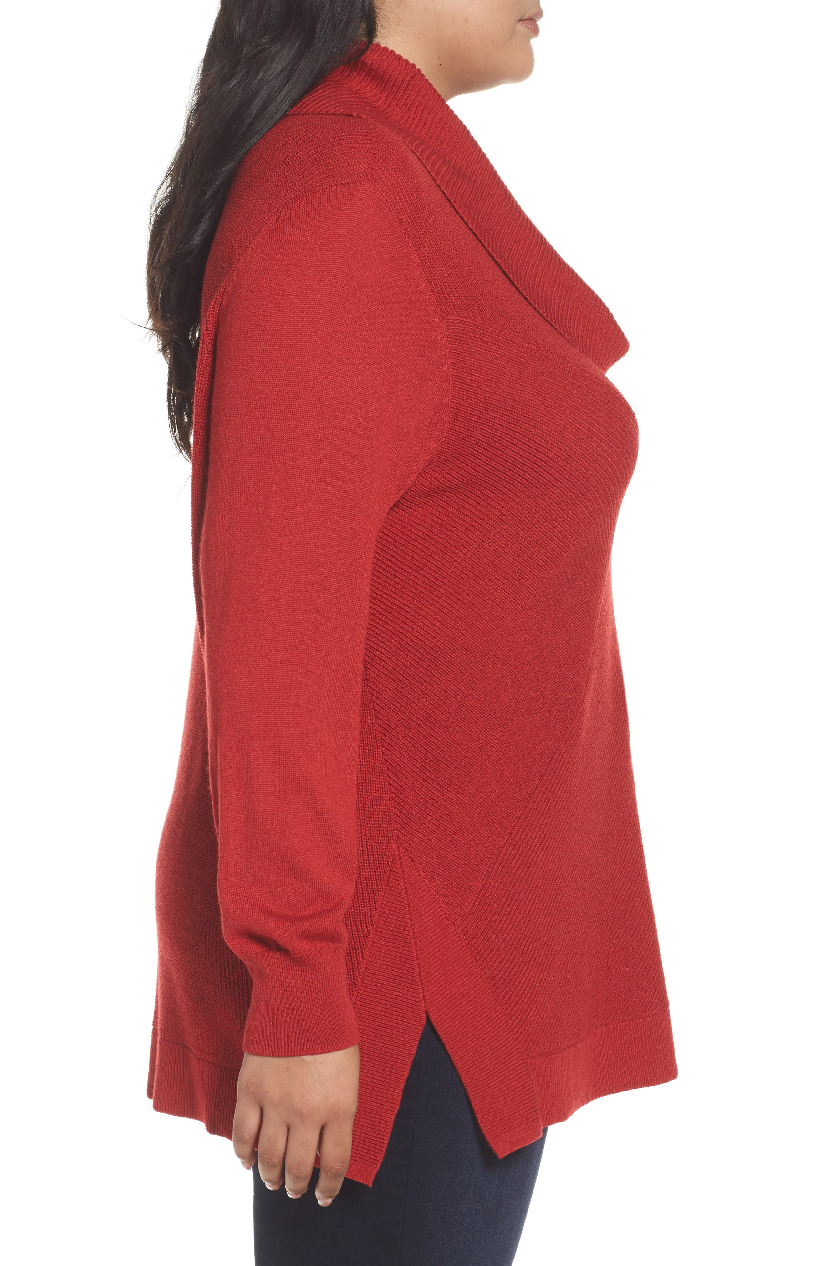 Cowl Neck Ribbed Trim Pullover,                             Alternate thumbnail 3, color,                             Red Sage