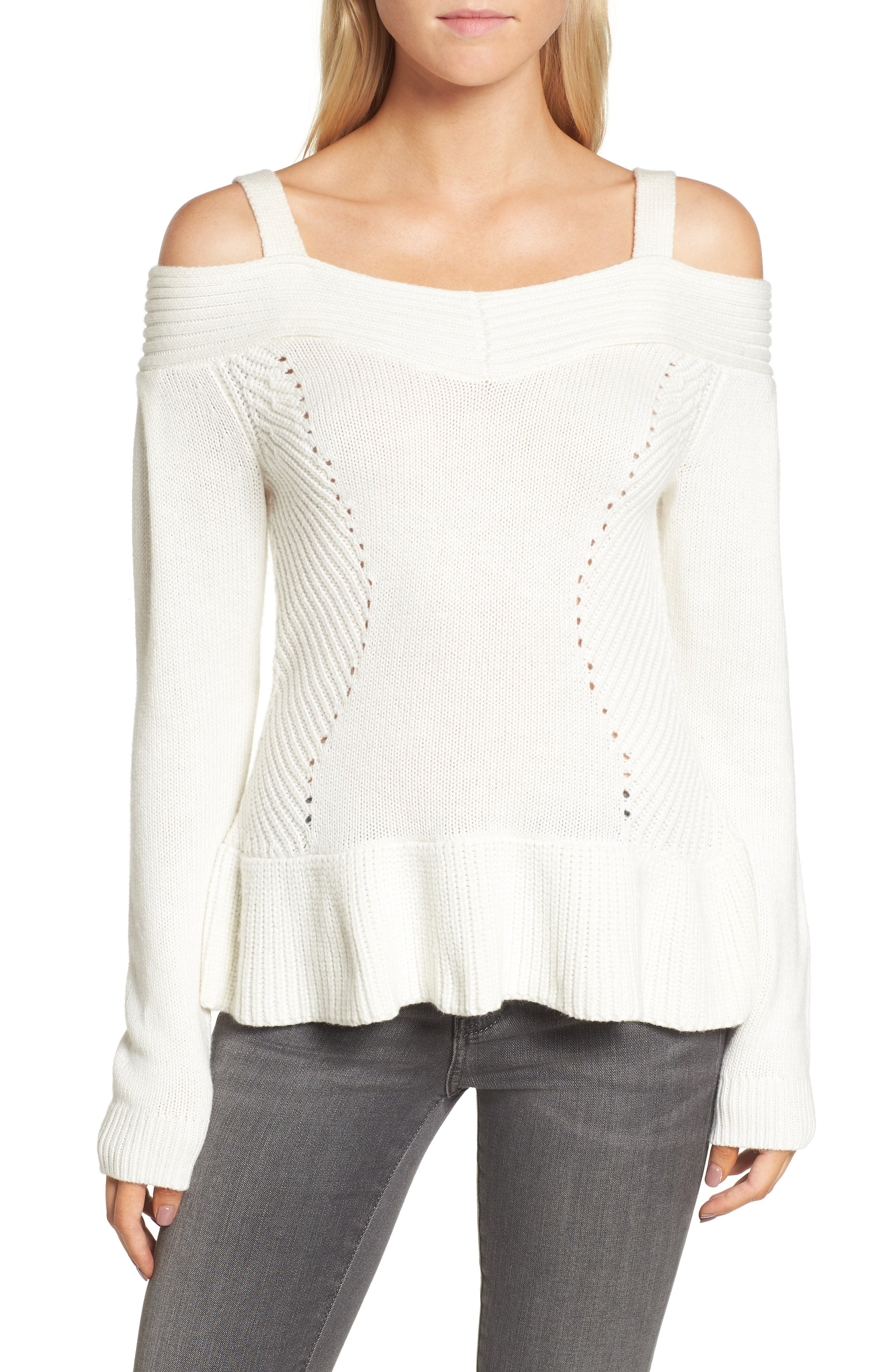 Chelsea 28 Cold Shoulder Sweater,                         Main,                         color, Ivory