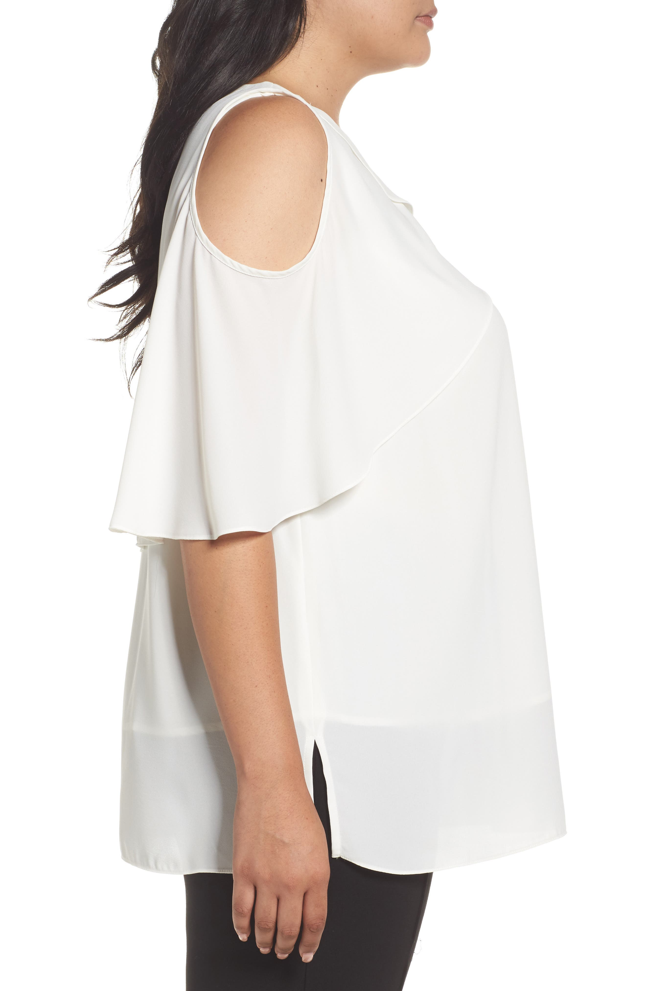 Cold Shoulder Ruffled Blouse,                             Alternate thumbnail 3, color,                             New Ivory