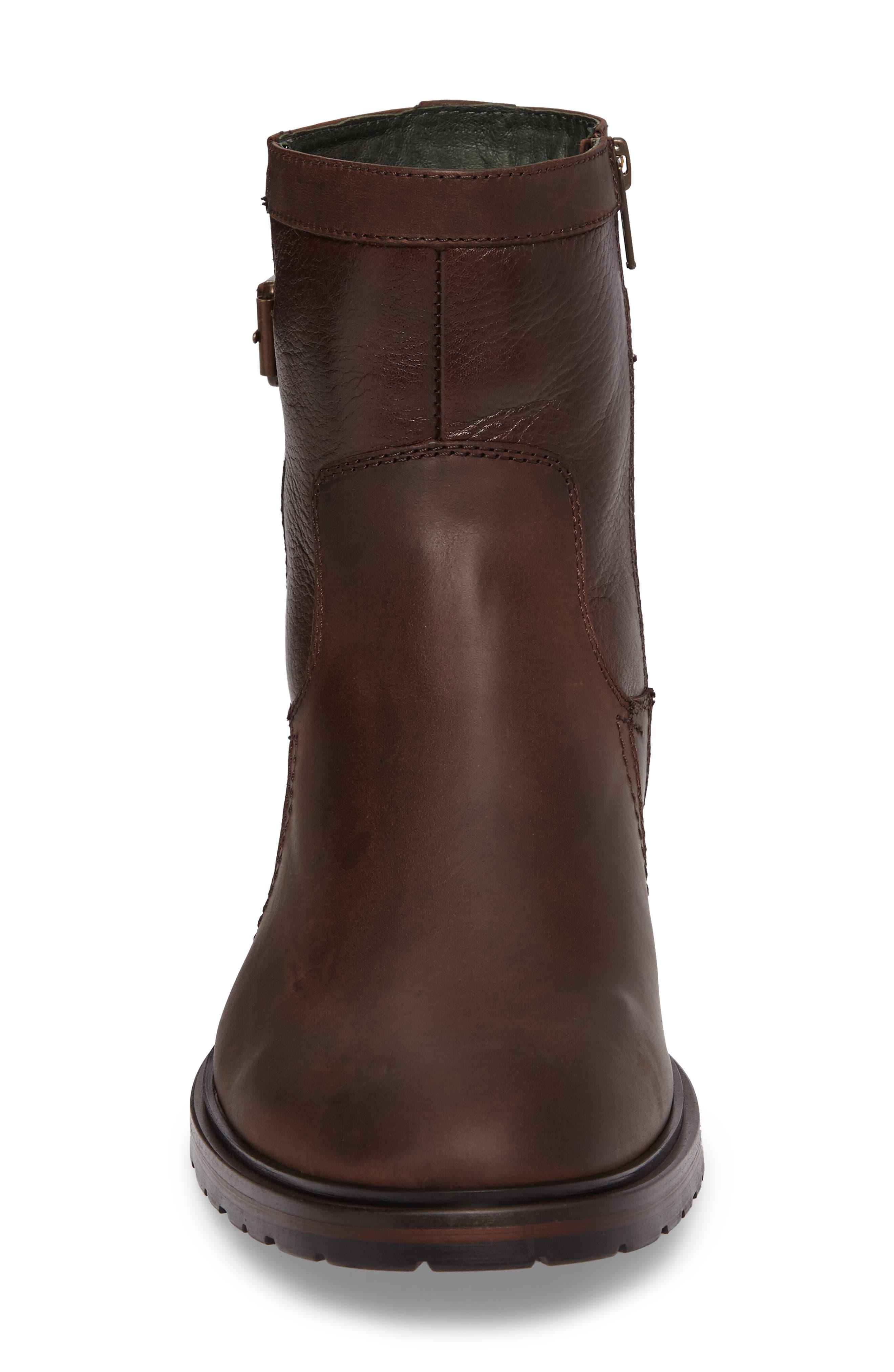 Myles Zip Boot,                             Alternate thumbnail 4, color,                             Dark Brown Leather
