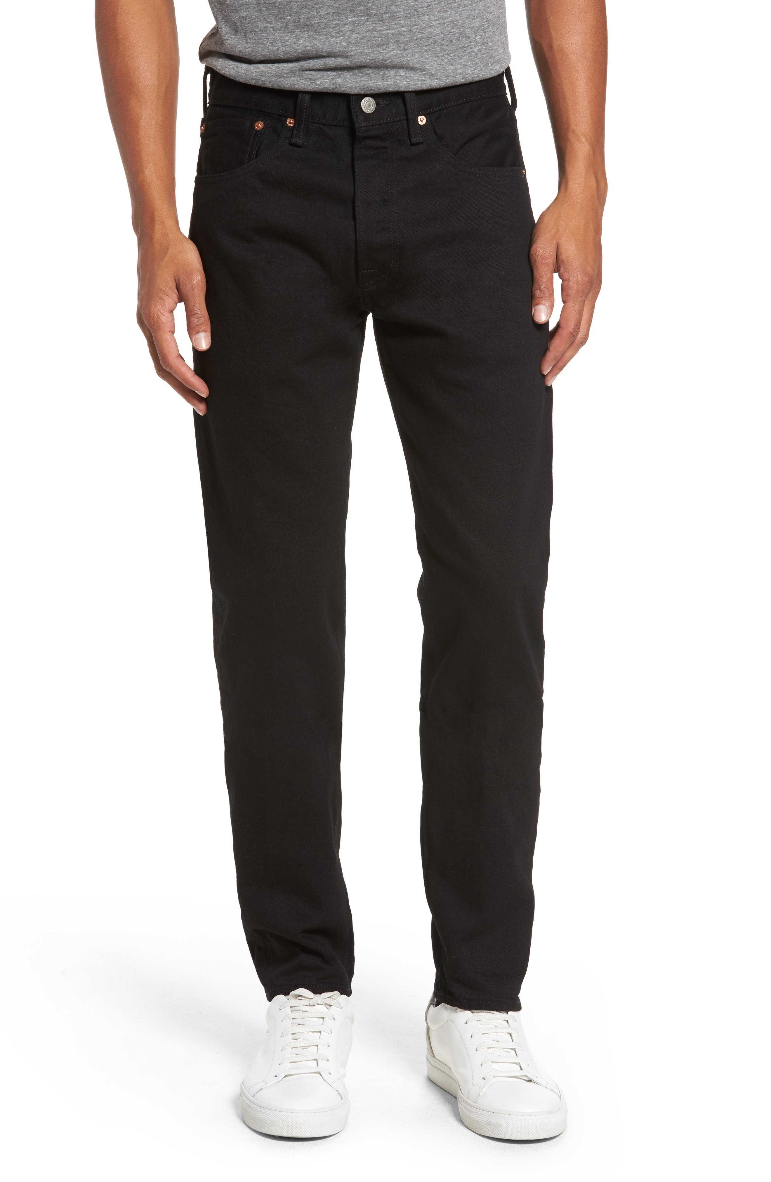 Main Image - Levi's® 501™ Slouchy Tapered Slim Fit Jeans (Black Punk)