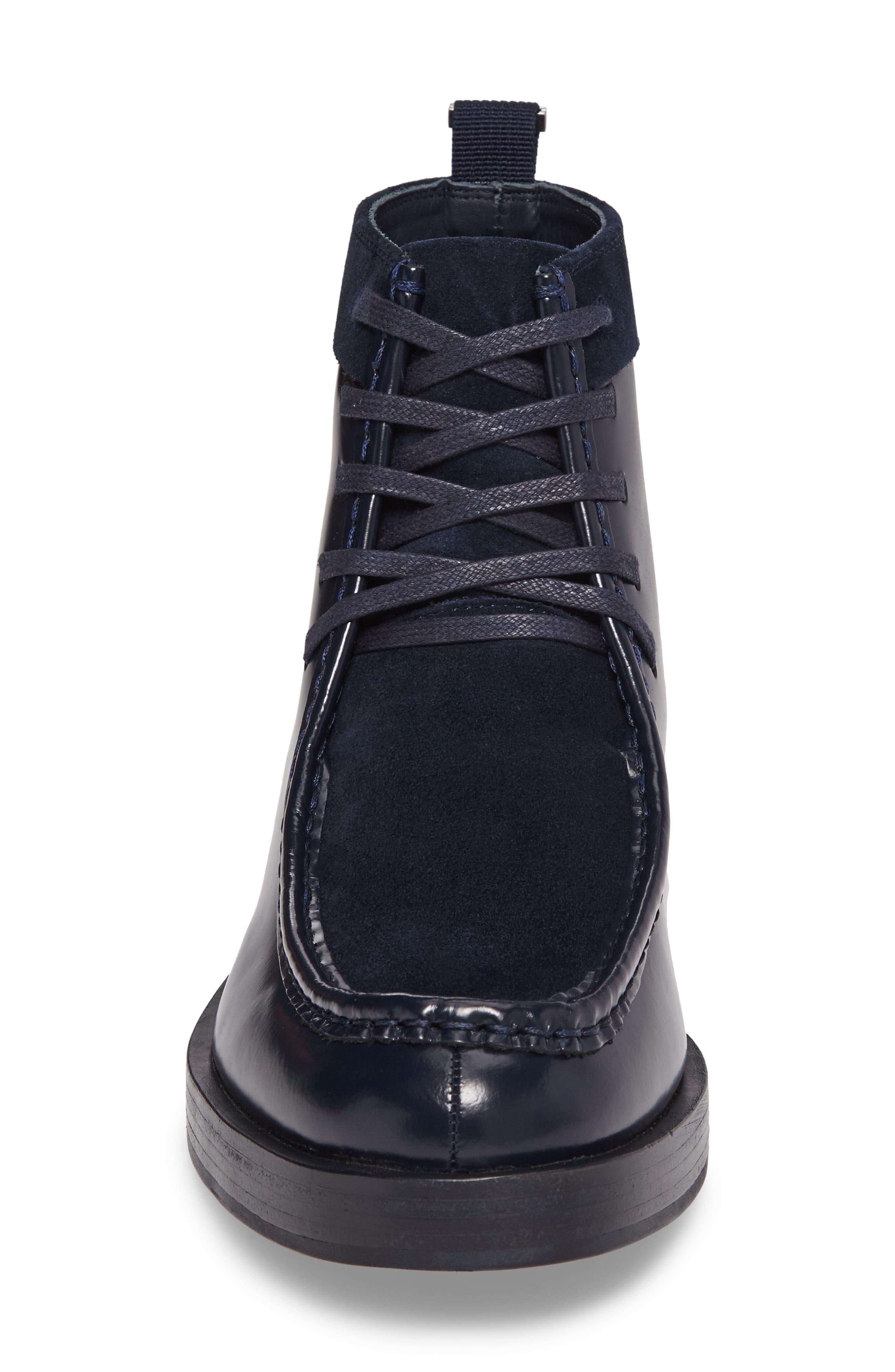 Rafi Moc Toe Boot,                             Alternate thumbnail 4, color,                             Dark Navy Leather