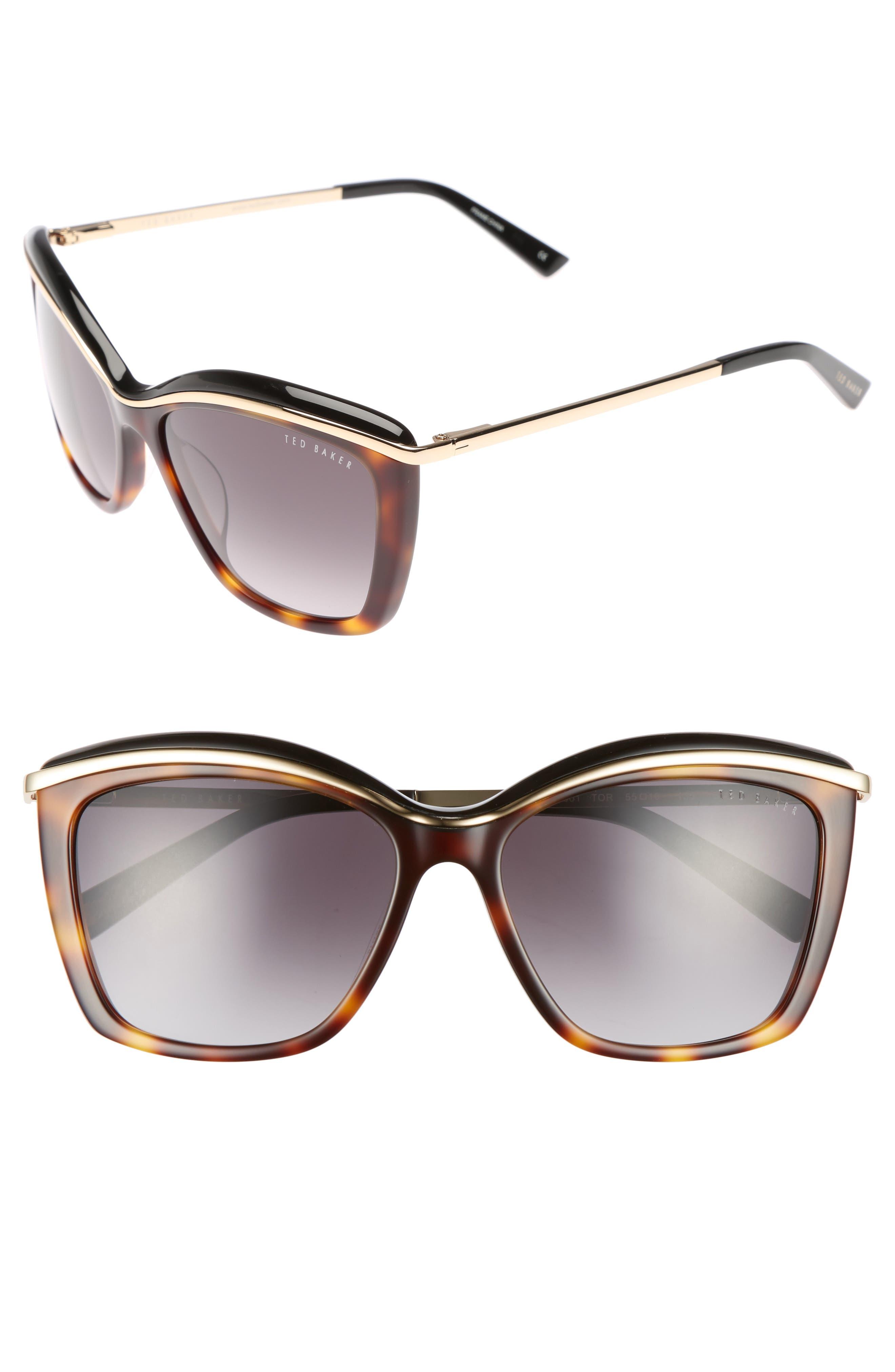 55mm Cat Eye Sunglasses,                         Main,                         color, Tortoise