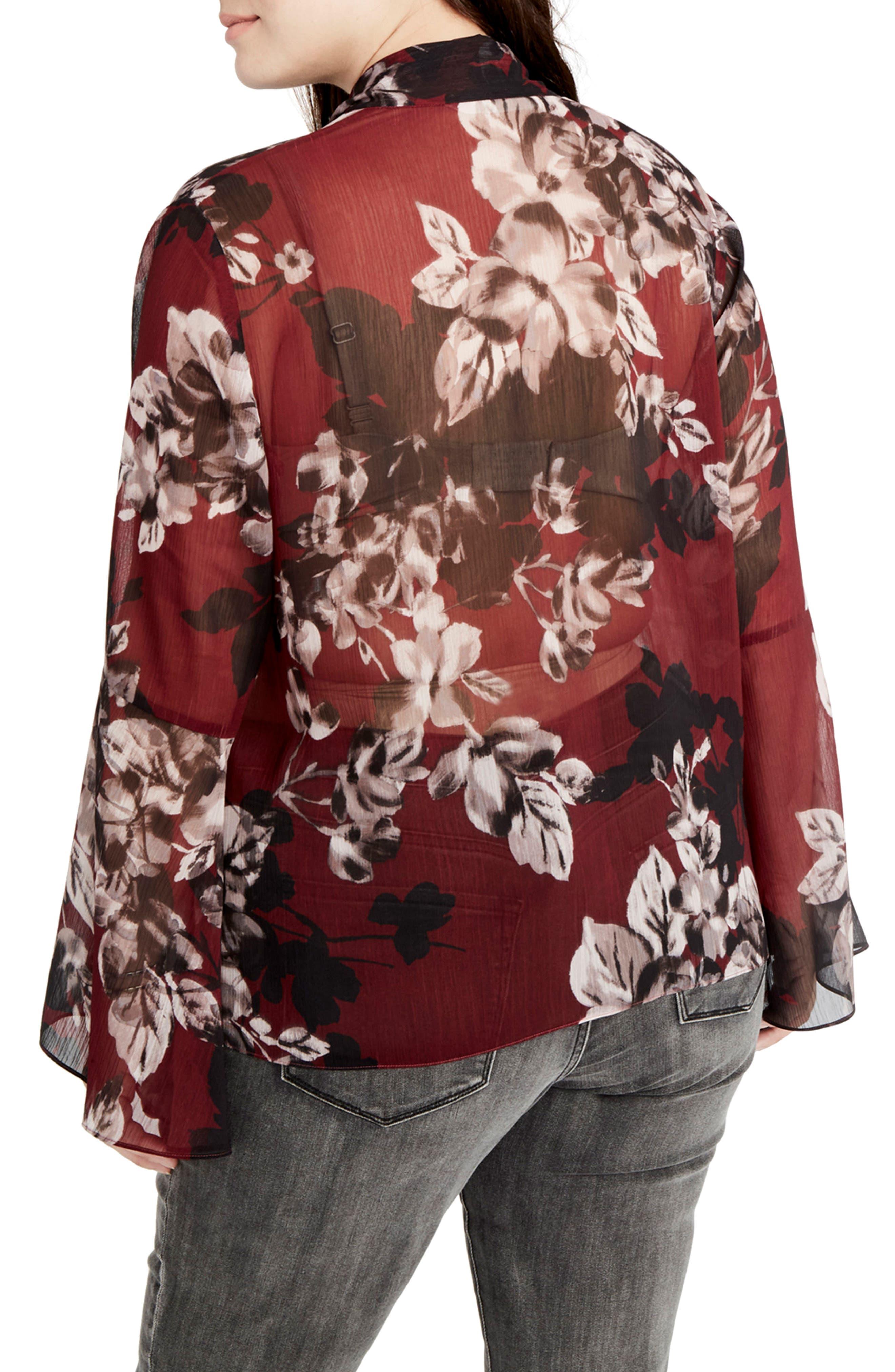 Alternate Image 2  - RACHEL Rachel Roy Floral Tie Neck Blouse (Plus Size)