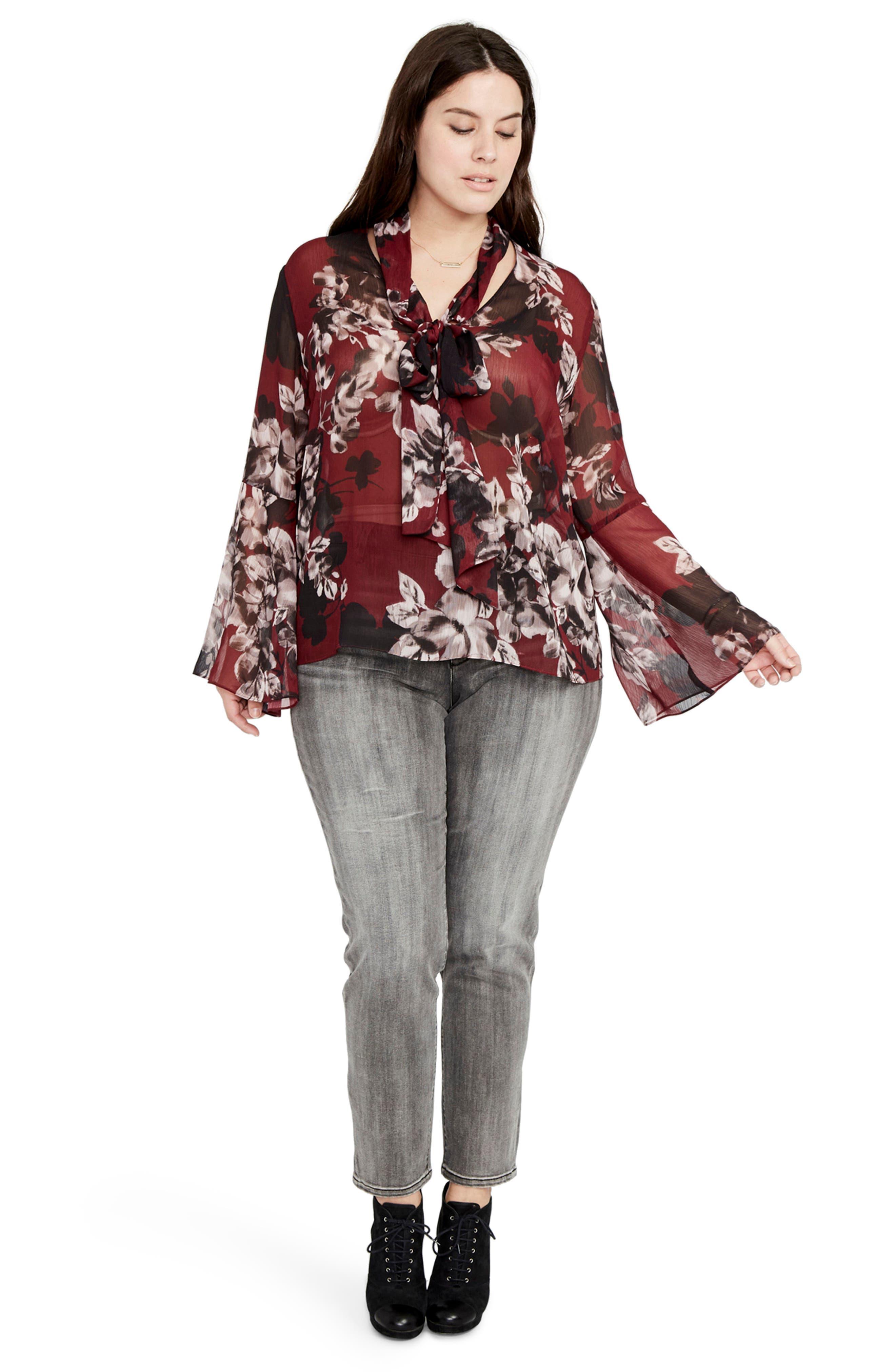 Alternate Image 3  - RACHEL Rachel Roy Floral Tie Neck Blouse (Plus Size)