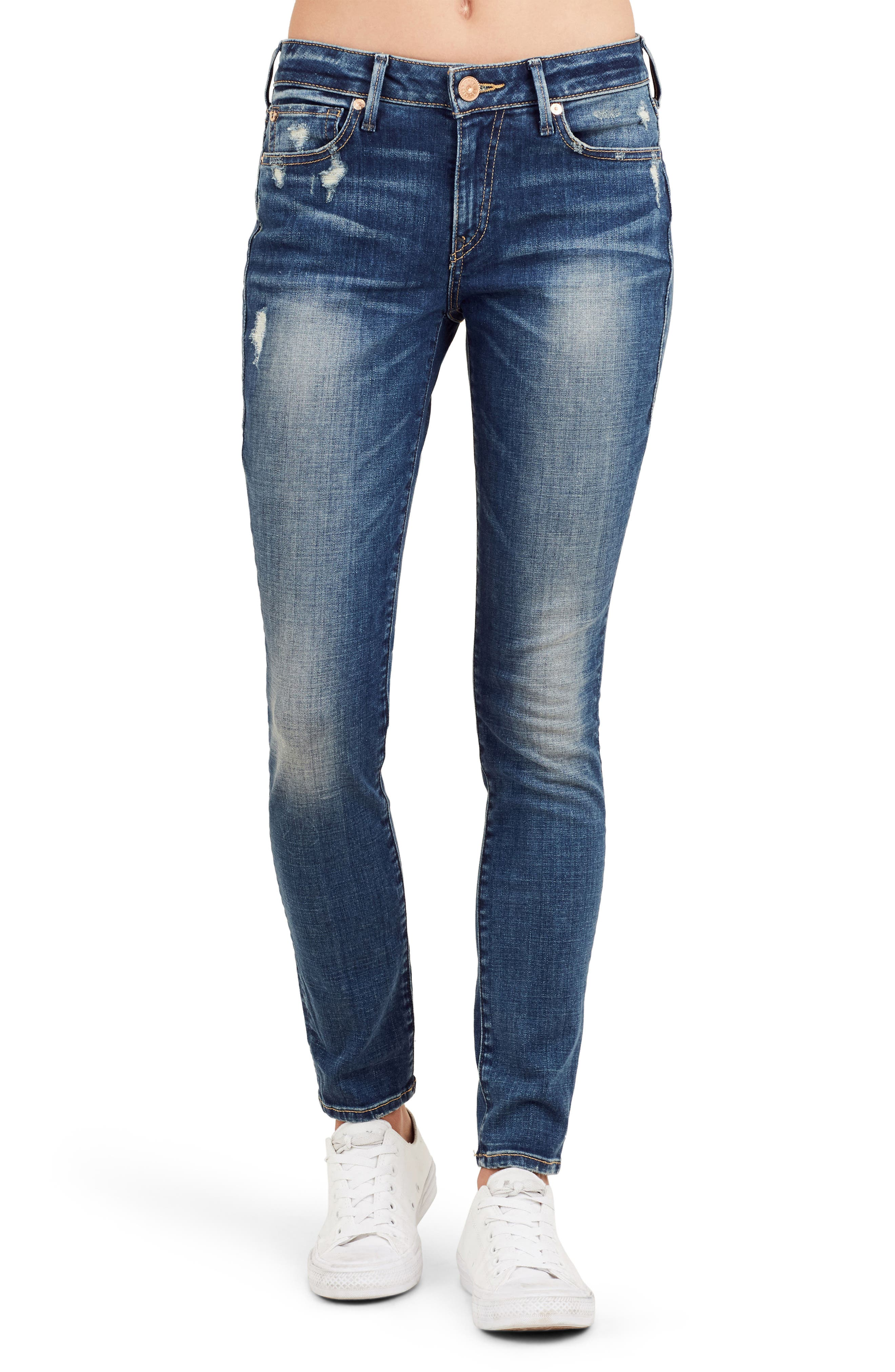Main Image - True Religion Brand Jeans Jennie Curvy Ankle Skinny Jeans (Bell Blues)