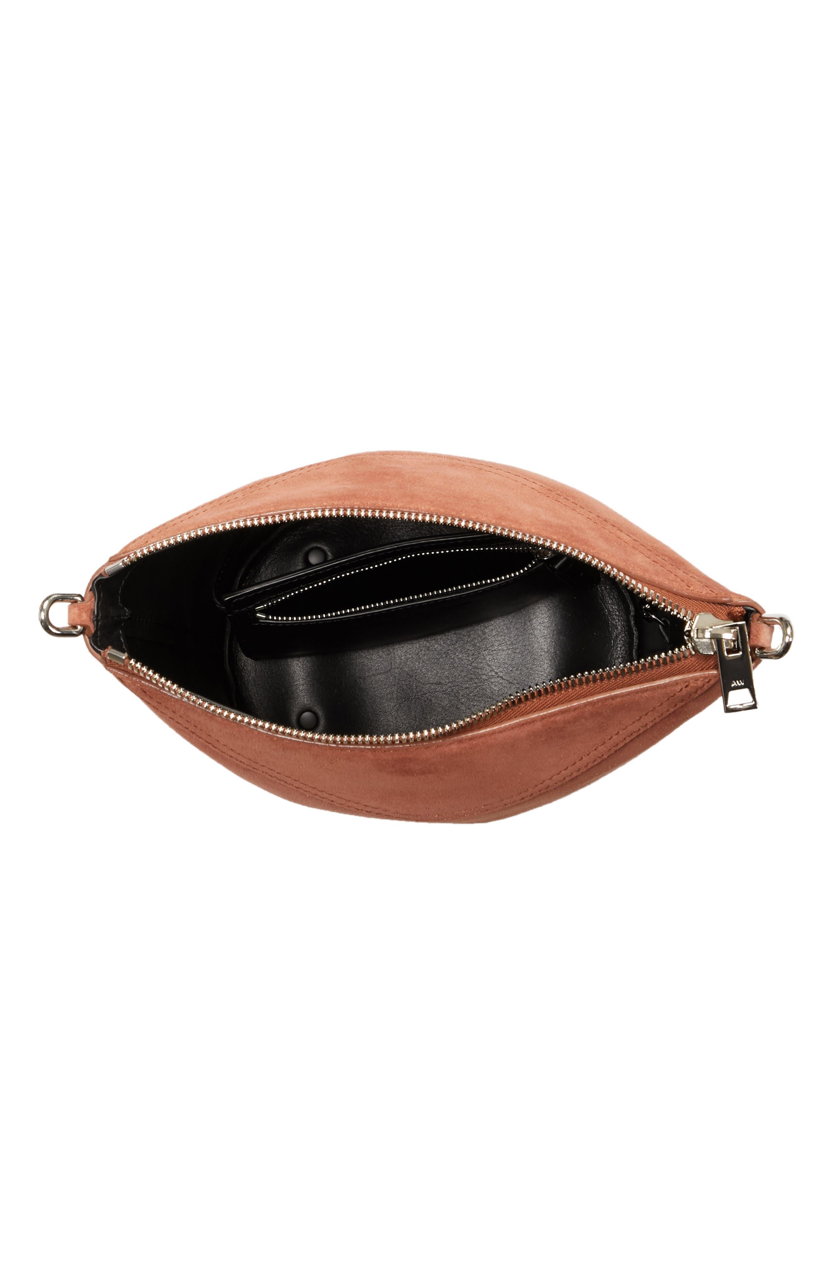 Ace Suede Bucket Bag,                             Alternate thumbnail 4, color,                             Terracotta