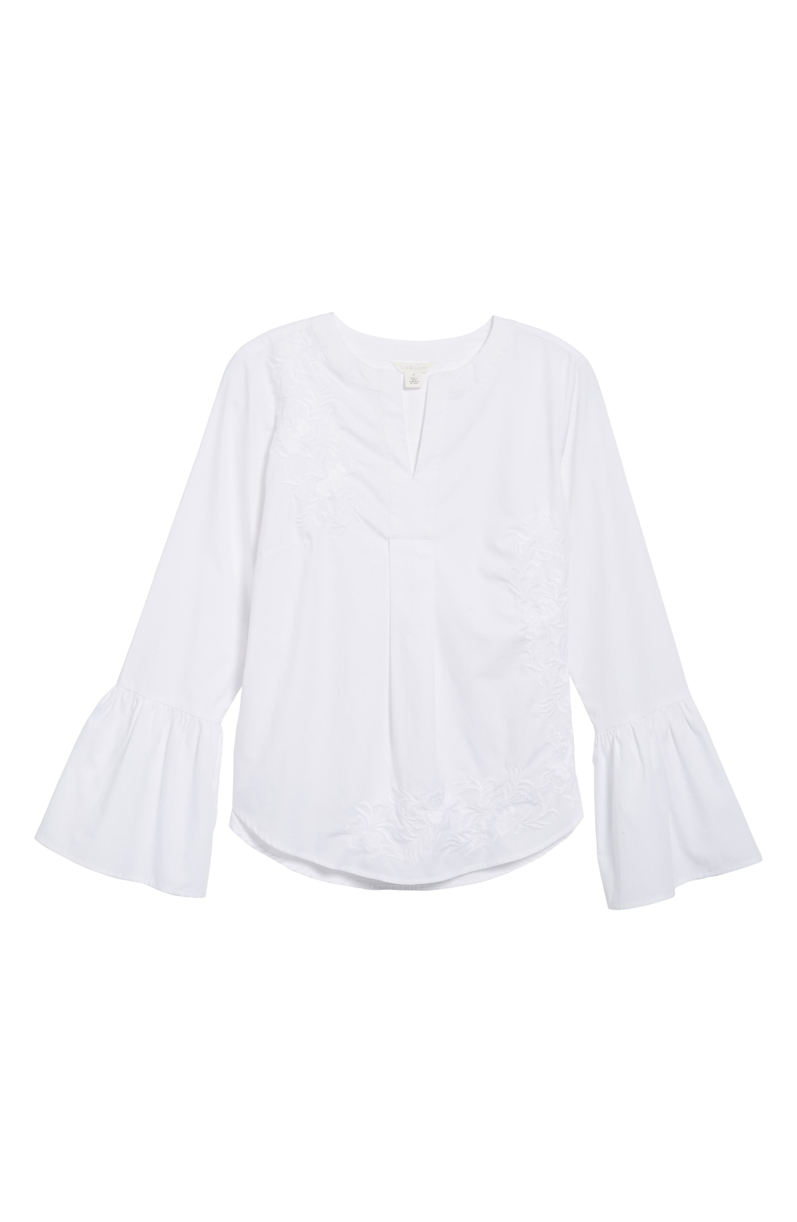 Embroidered Bell Sleeve Top,                             Alternate thumbnail 6, color,                             White Embroidered Pattern