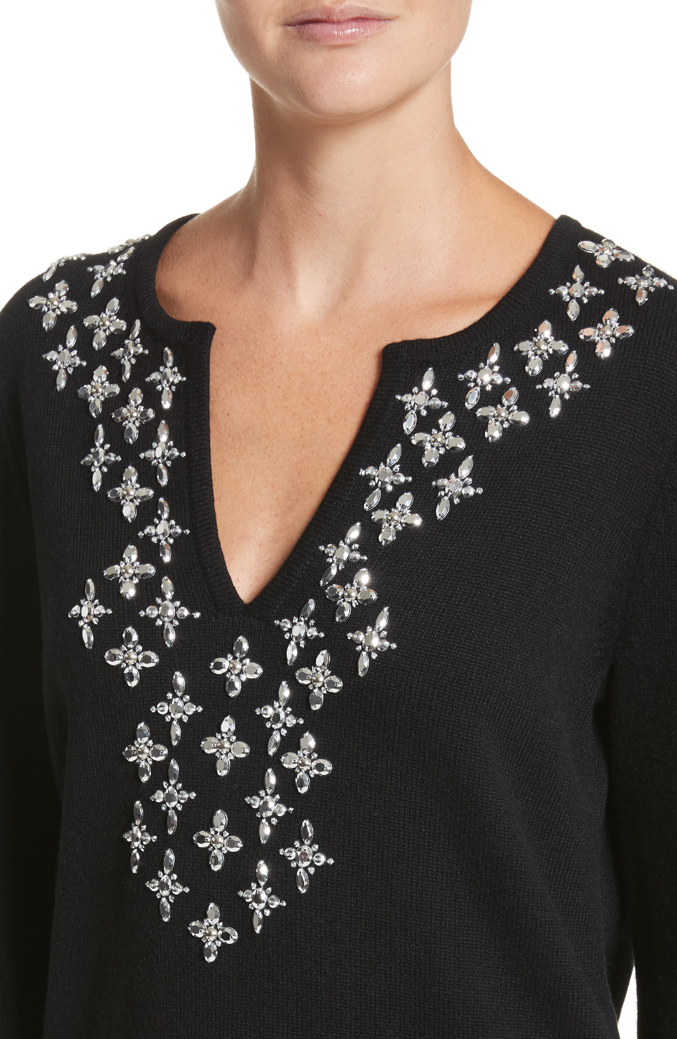 Embellished Cashmere Tunic,                             Alternate thumbnail 4, color,                             Black